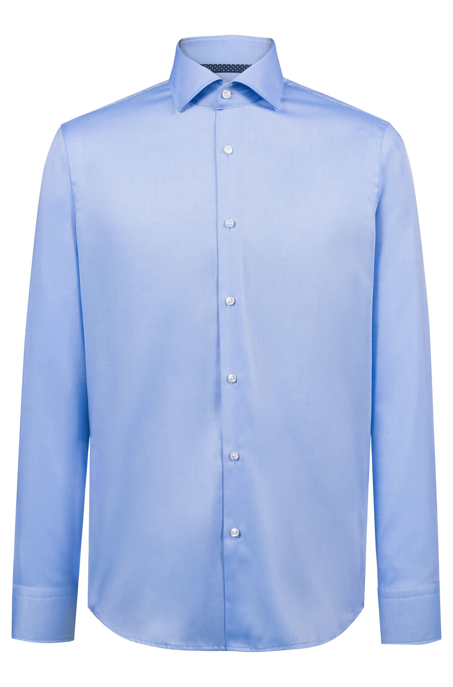 Regular-fit shirt in easy-iron Oxford cotton, Light Blue