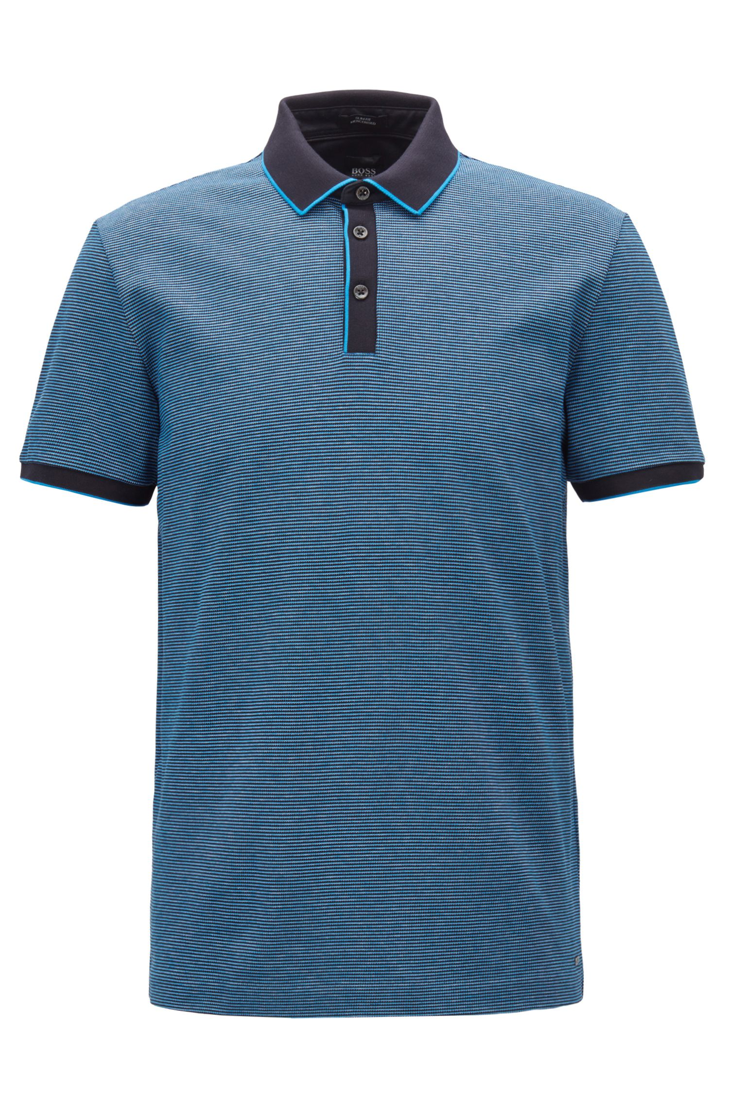 Polo Slim Fit en coton mercerisé tricolore, Bleu