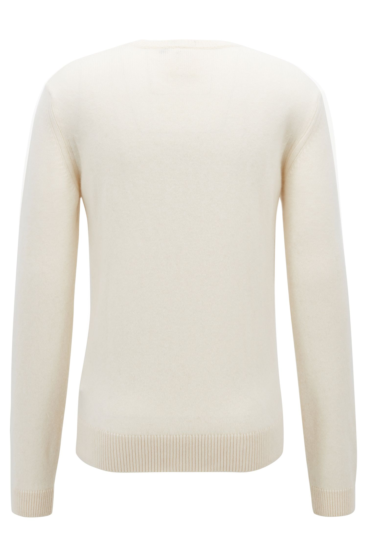 Crew-neck sweater in wool-blend single jersey, Natural