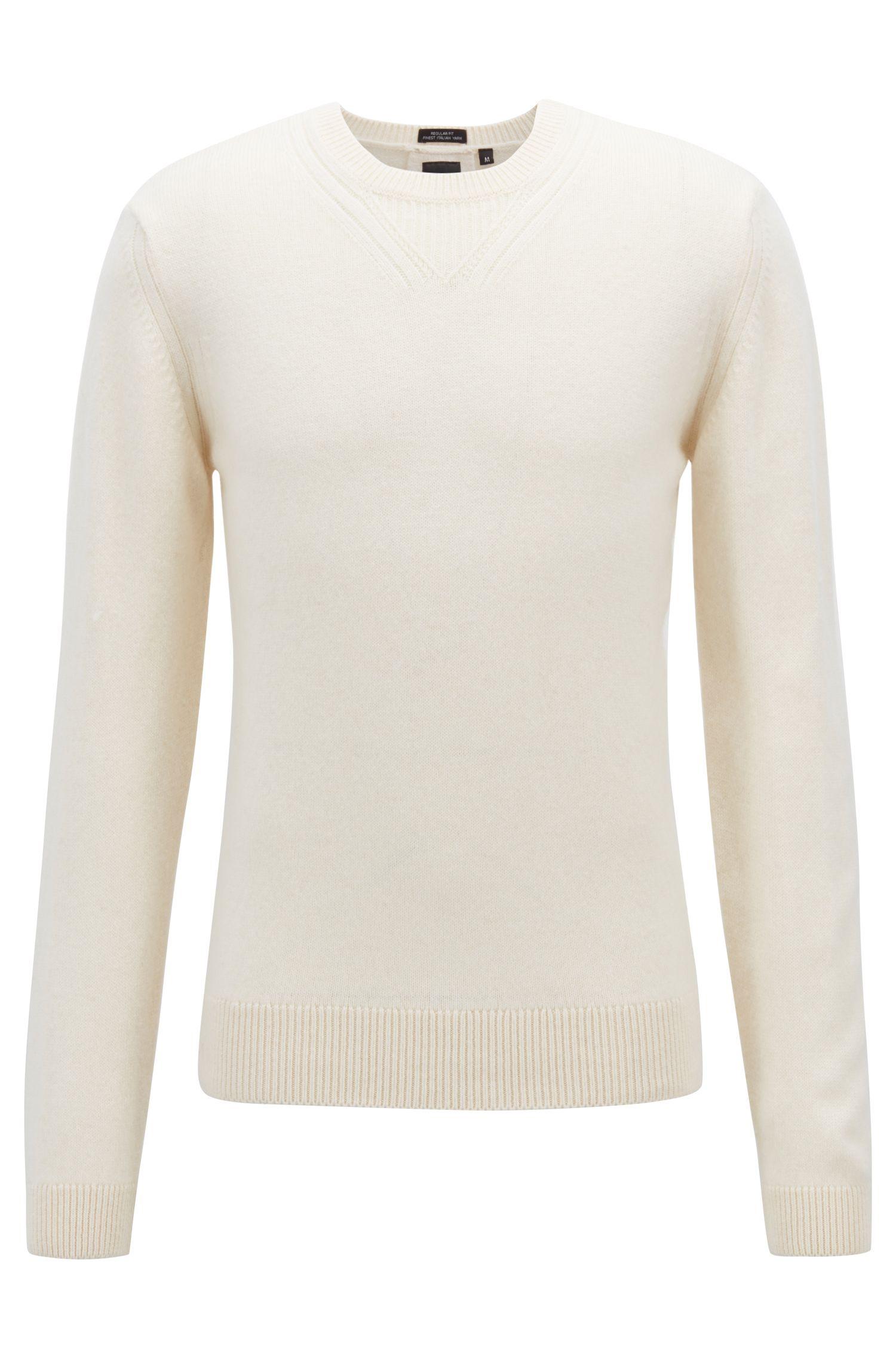 Maglione a girocollo in jersey di misto lana, Naturale