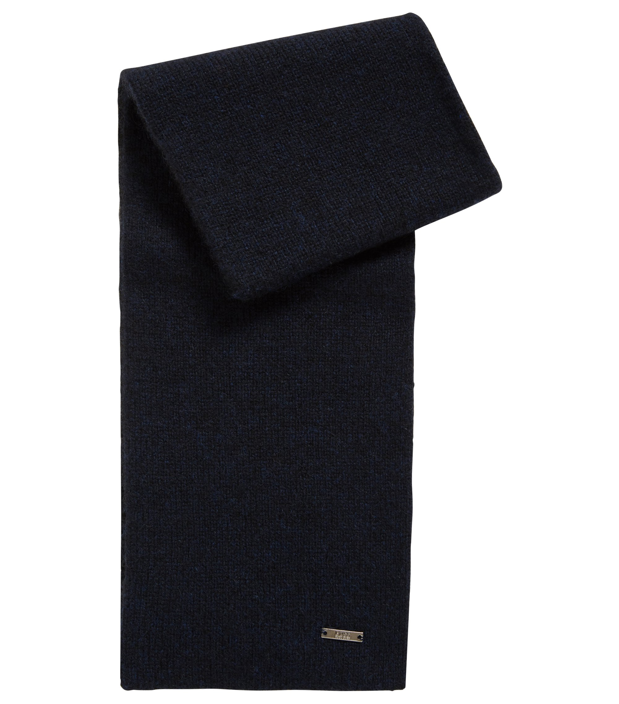 Tailored scarf in two-tone pure cashmere, Dark Blue
