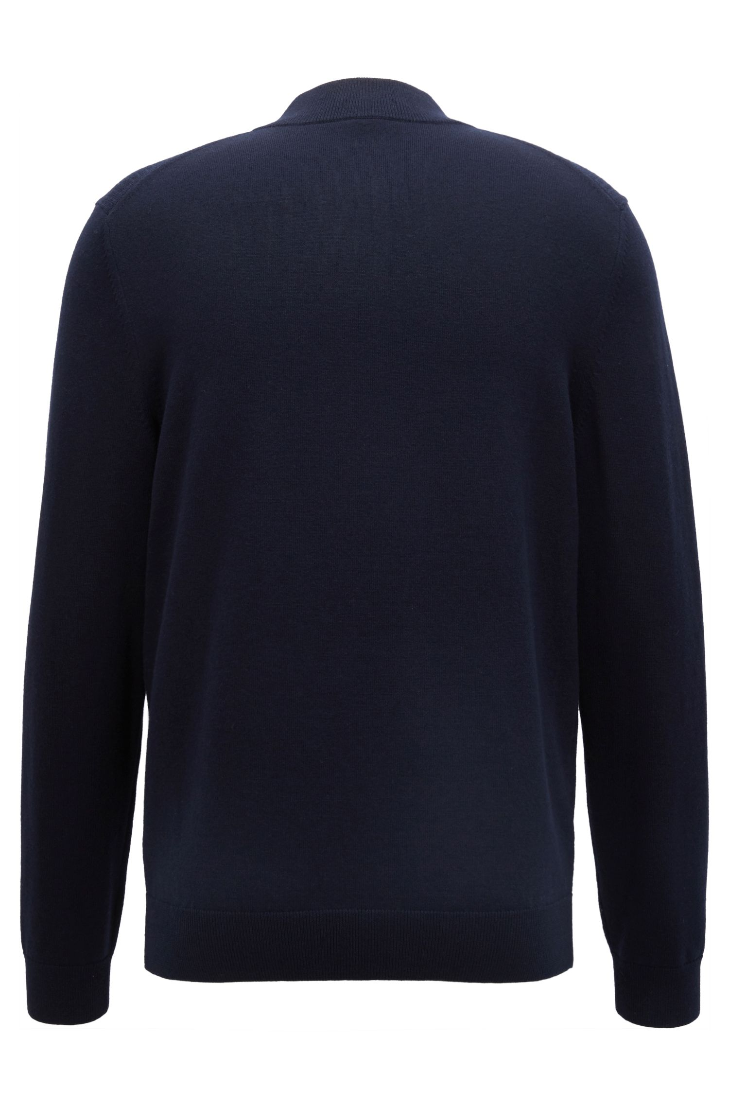 Zip-neck sweater in a wool-cotton blend, Blue