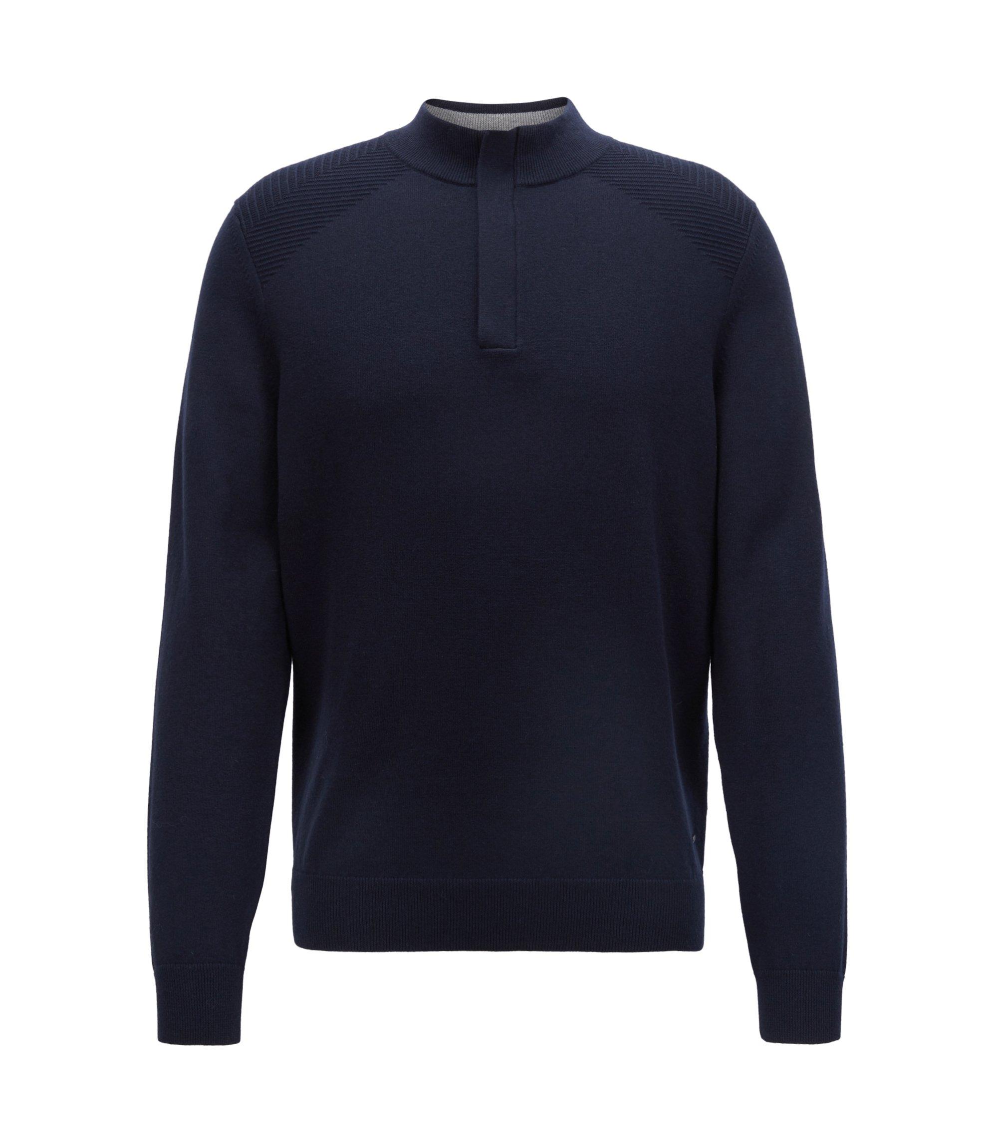 Pullover aus Baumwoll-Schurwoll-Mix mit Troyerkragen, Blau