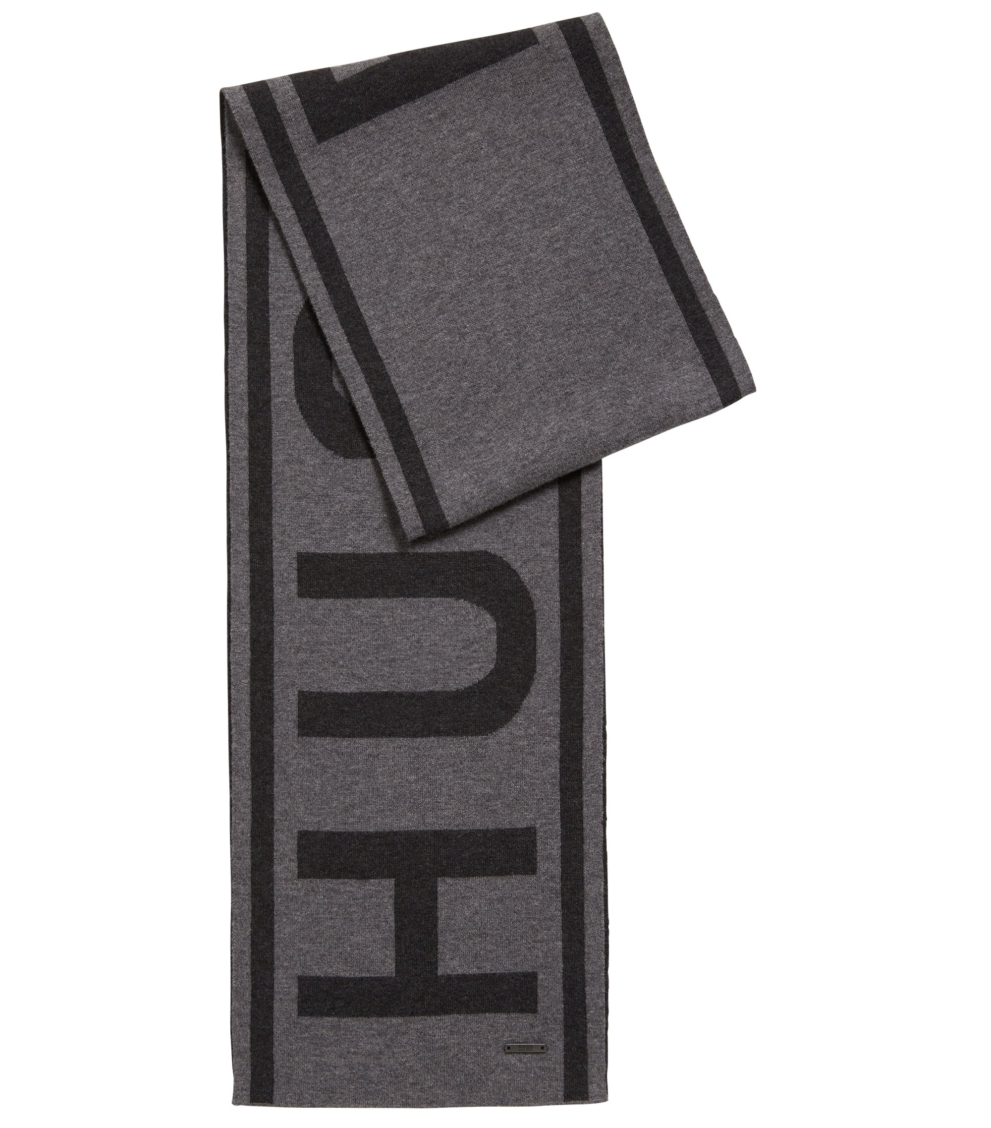 Cotton-blend knitted scarf with large-scale logo, Grey