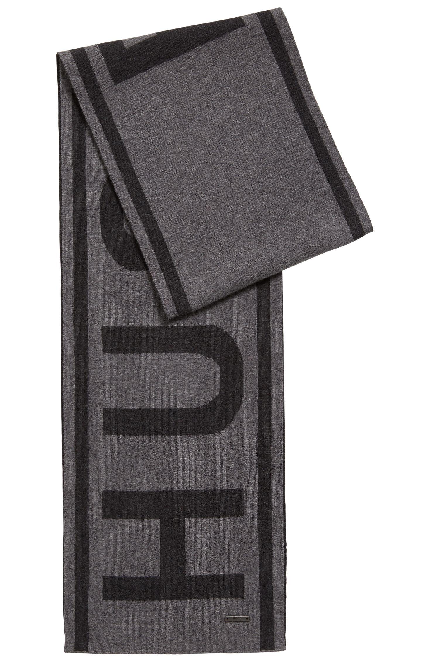 Gebreide sjaal van een katoenmix met groot logo, Grijs