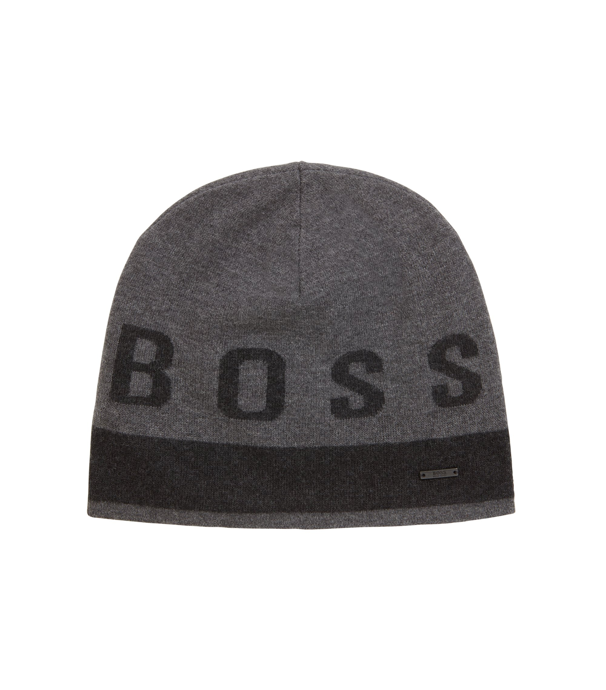 Cotton-blend beanie hat with contrast logo, Grey