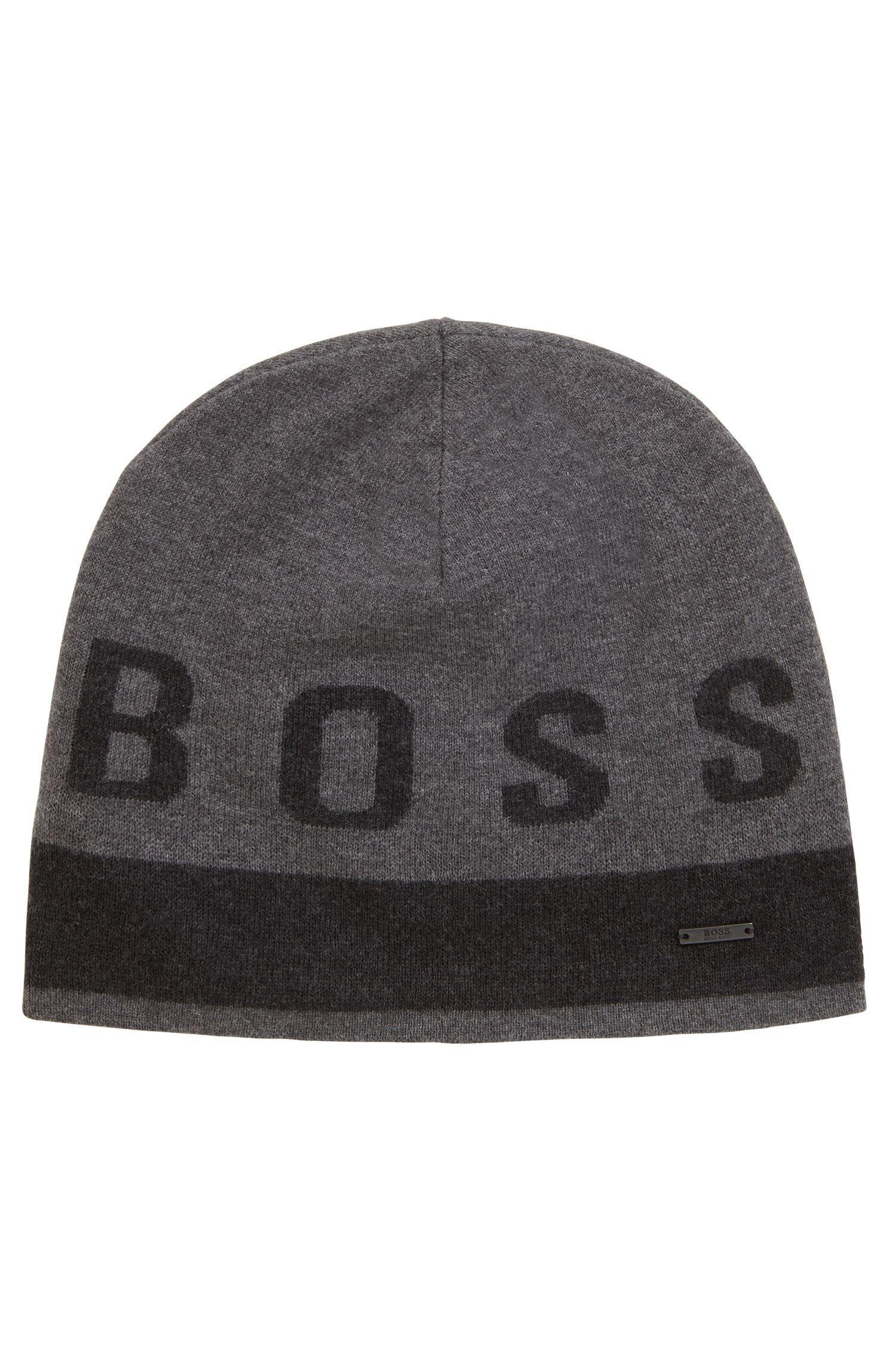 Mütze aus Baumwoll-Mix mit Kontrast-Logo, Grau
