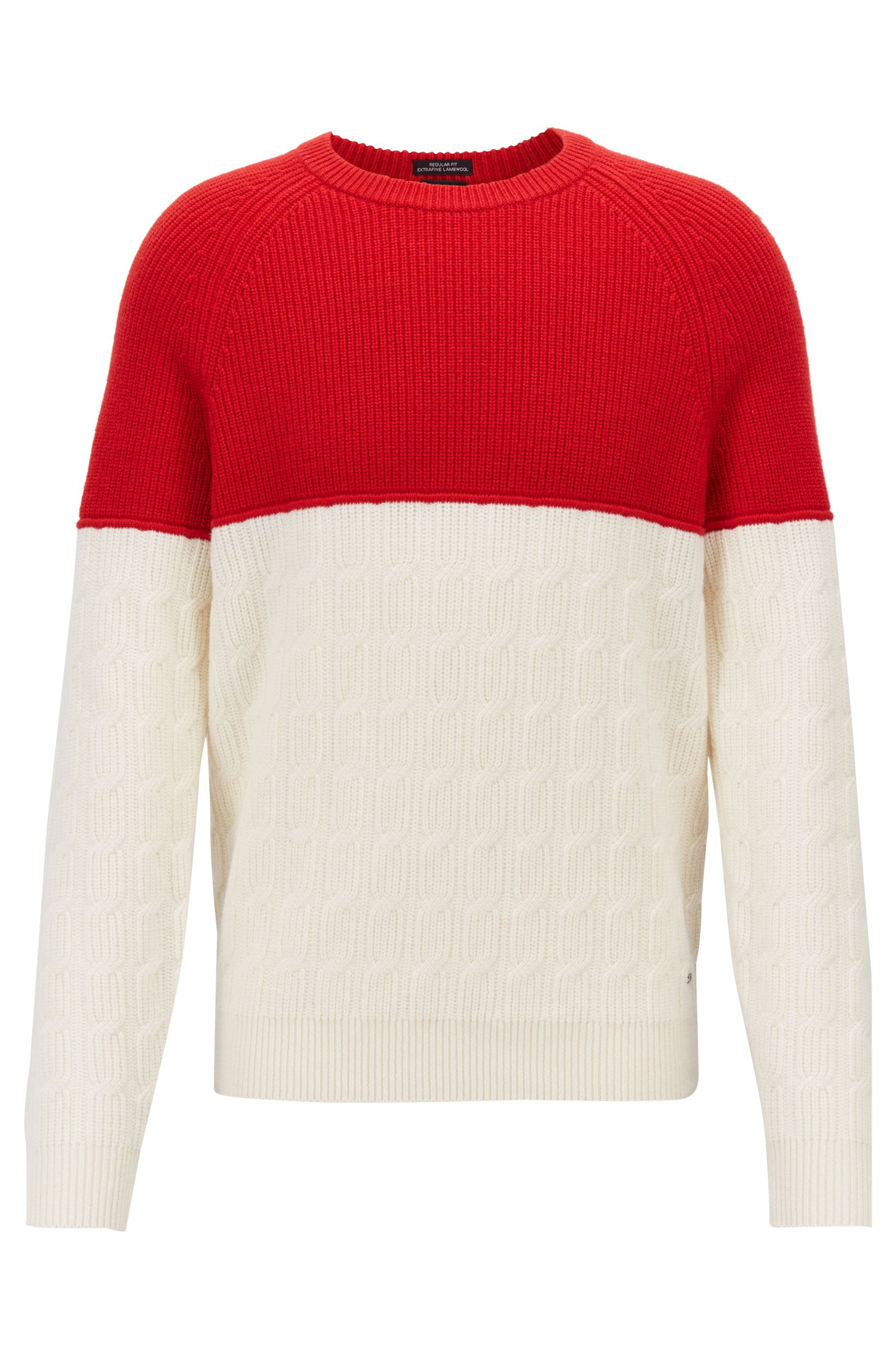 Colour-block sweater in pure lambswool with mixed textures, Natural