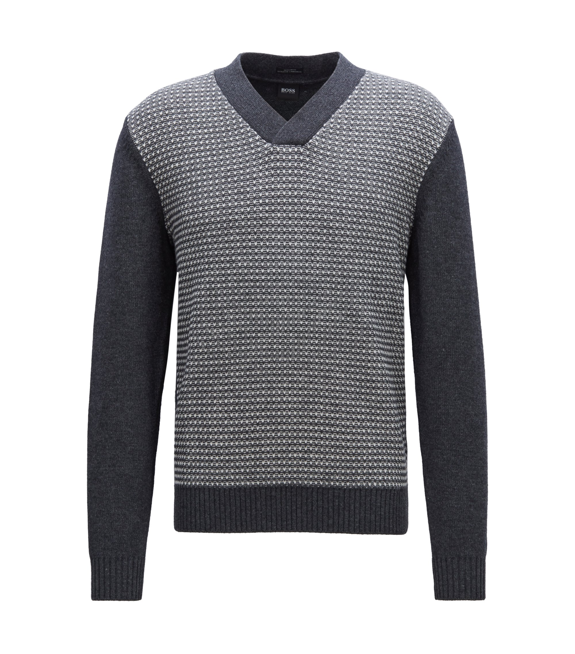 Maglione con scollo a V in lana d'agnello con lavorazione jacquard bicolore, Grigio scuro