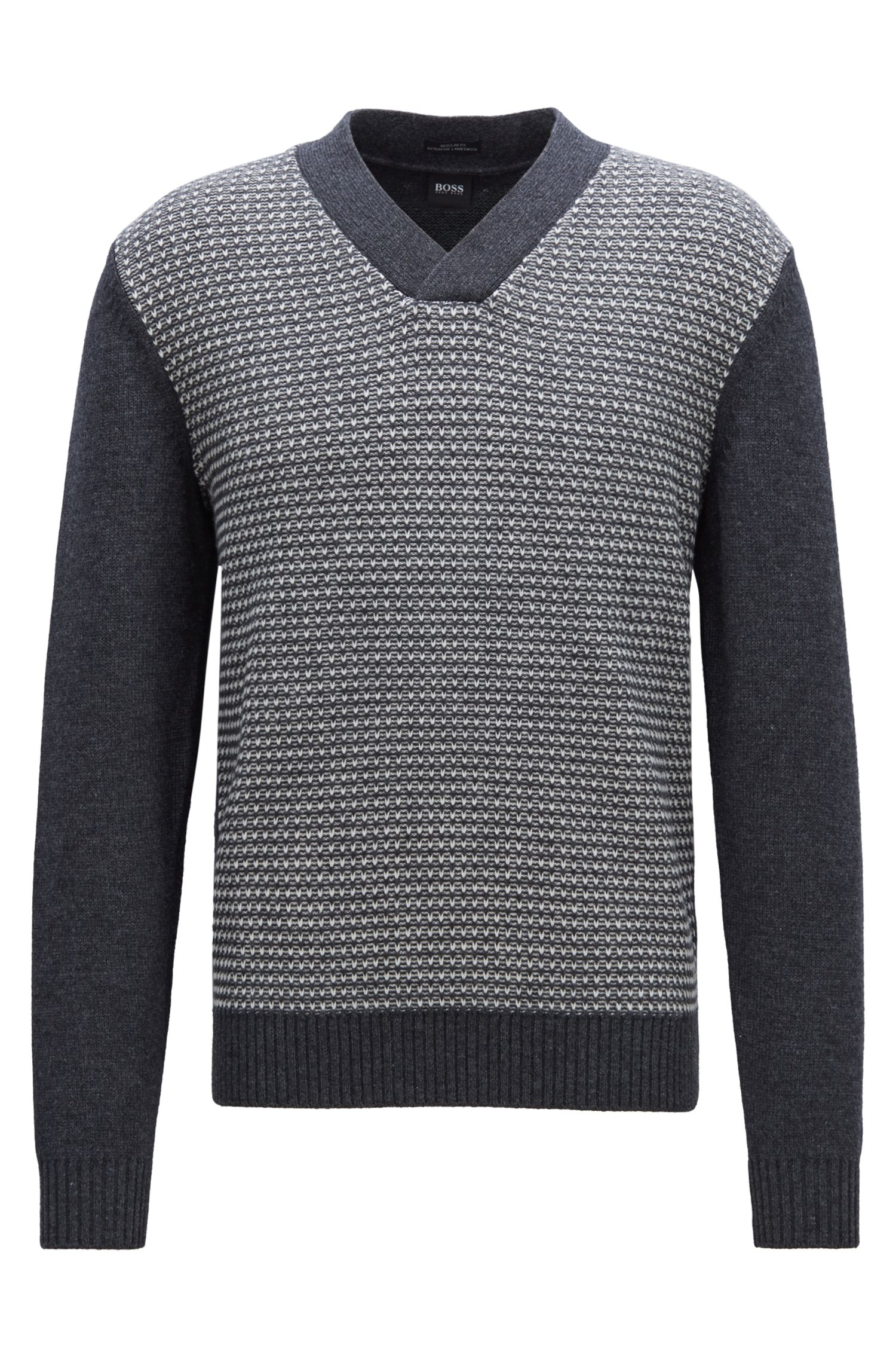 V-neck lambswool sweater with two-tone jacquard structure, Dark Grey