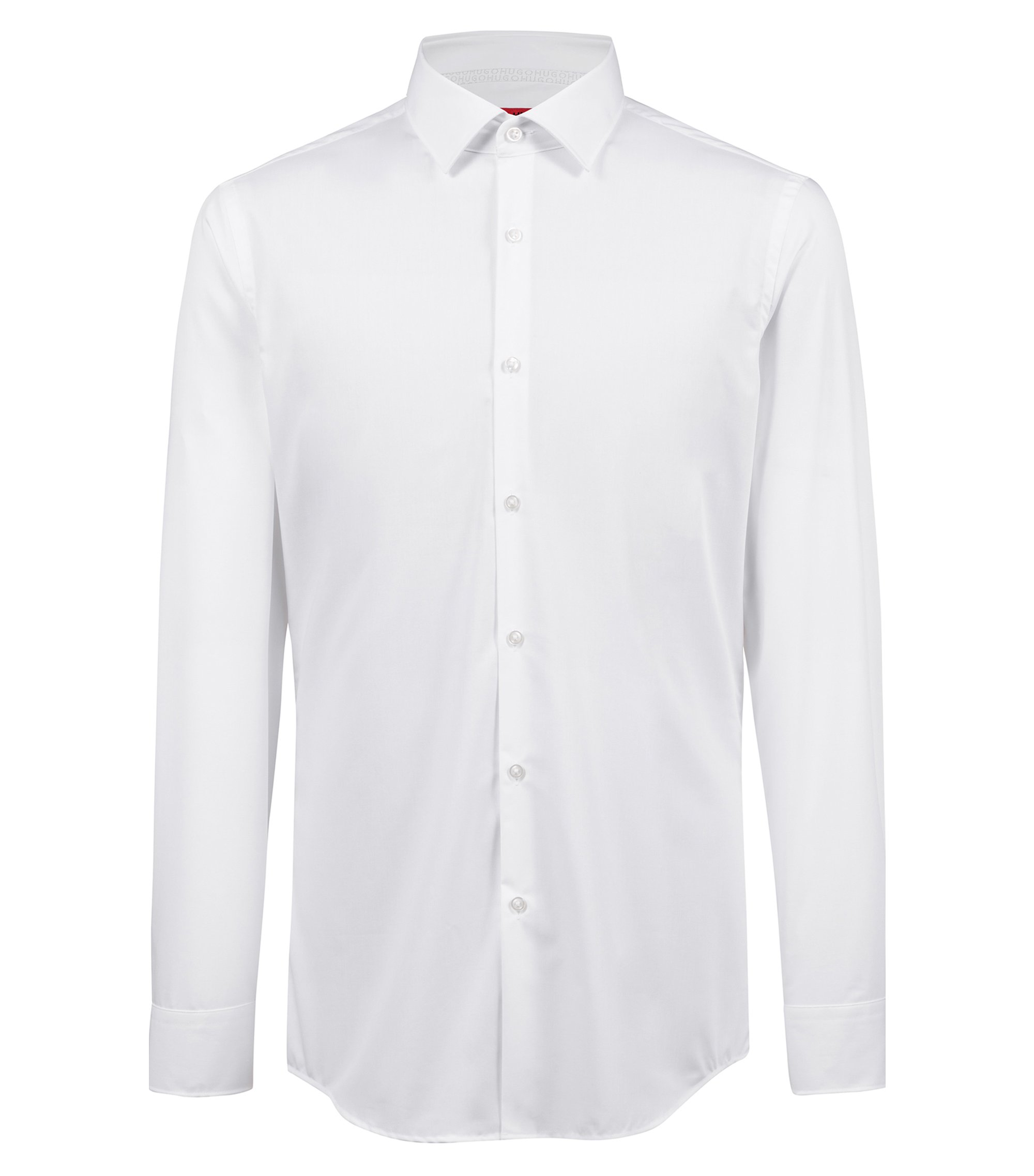 Slim-fit shirt in easy-iron cotton with internal logo trim, White
