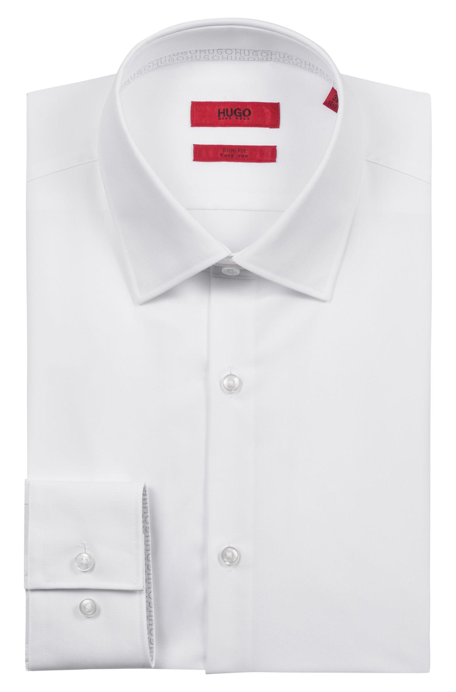 Camisa slim fit en algodón de planchado fácil con detalles del logo en el interior, Blanco