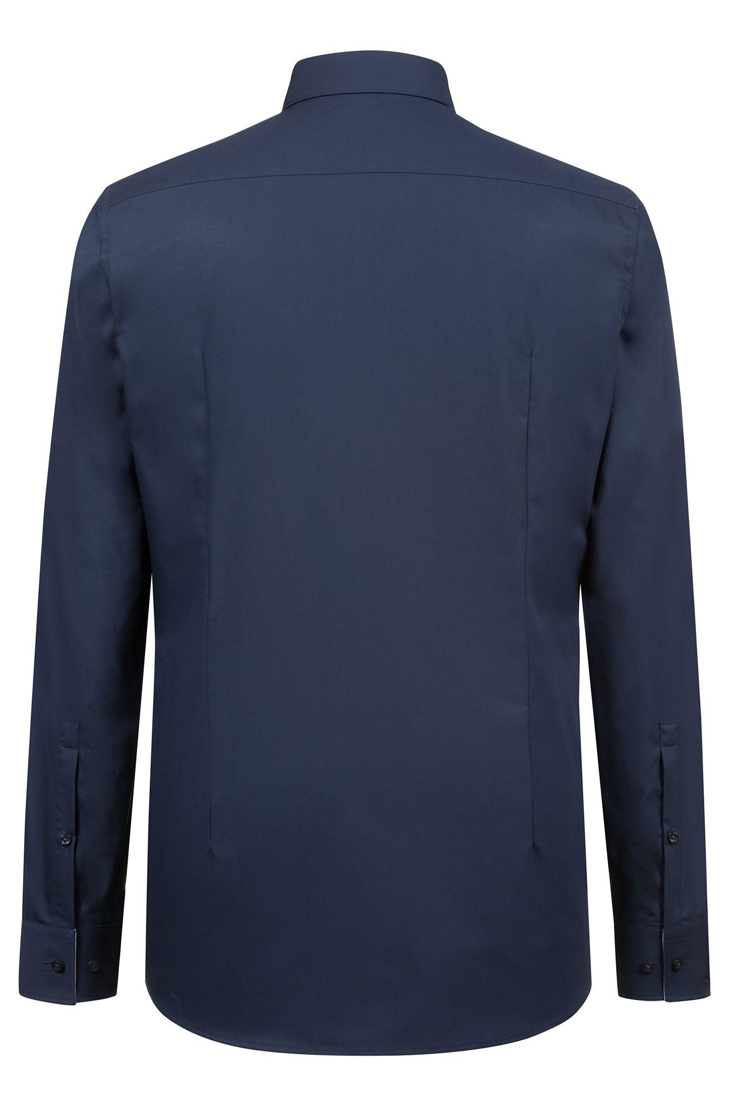 Slim-Fit Hemd aus bügelleichter Baumwolle mit Logo-Detail innen, Dunkelblau