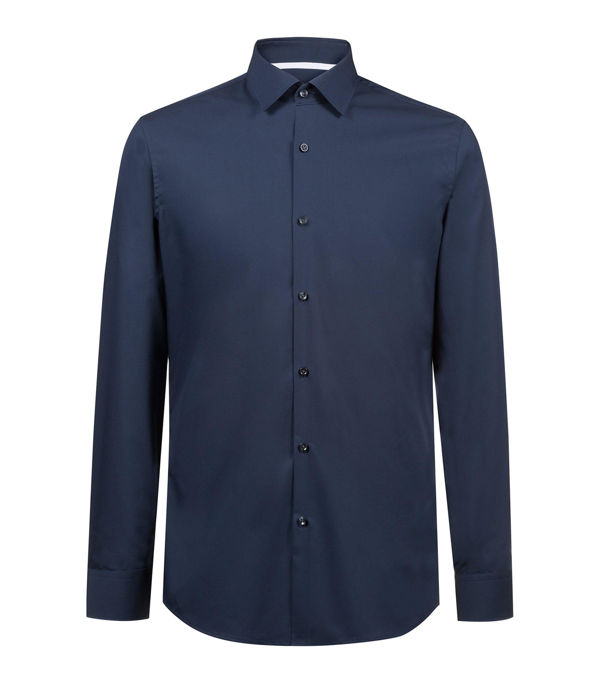 Slim-fit shirt in easy-iron cotton with internal logo trim, Dark Blue