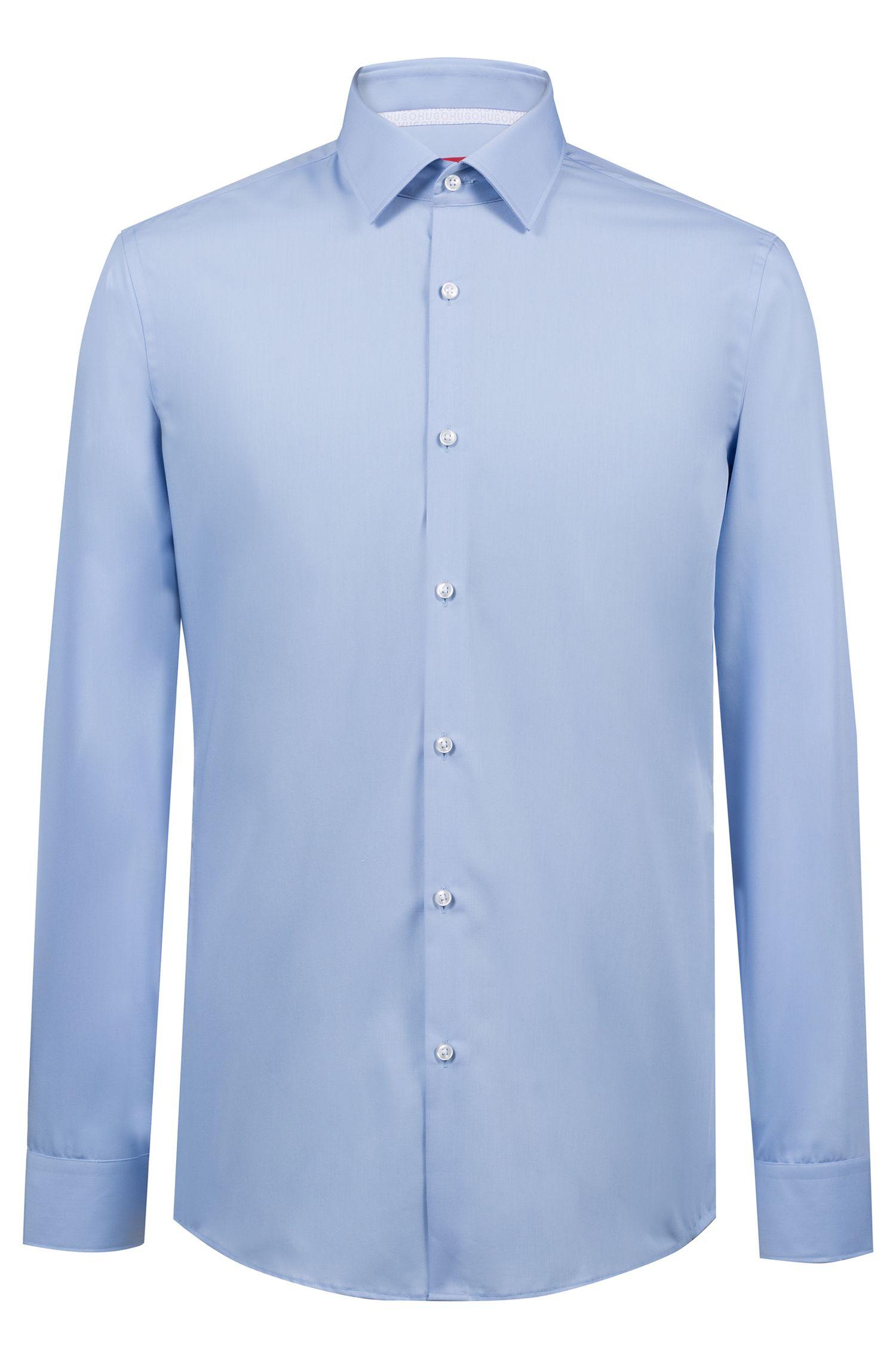 Slim-Fit Hemd aus bügelleichter Baumwolle mit Logo-Detail innen, Hellblau