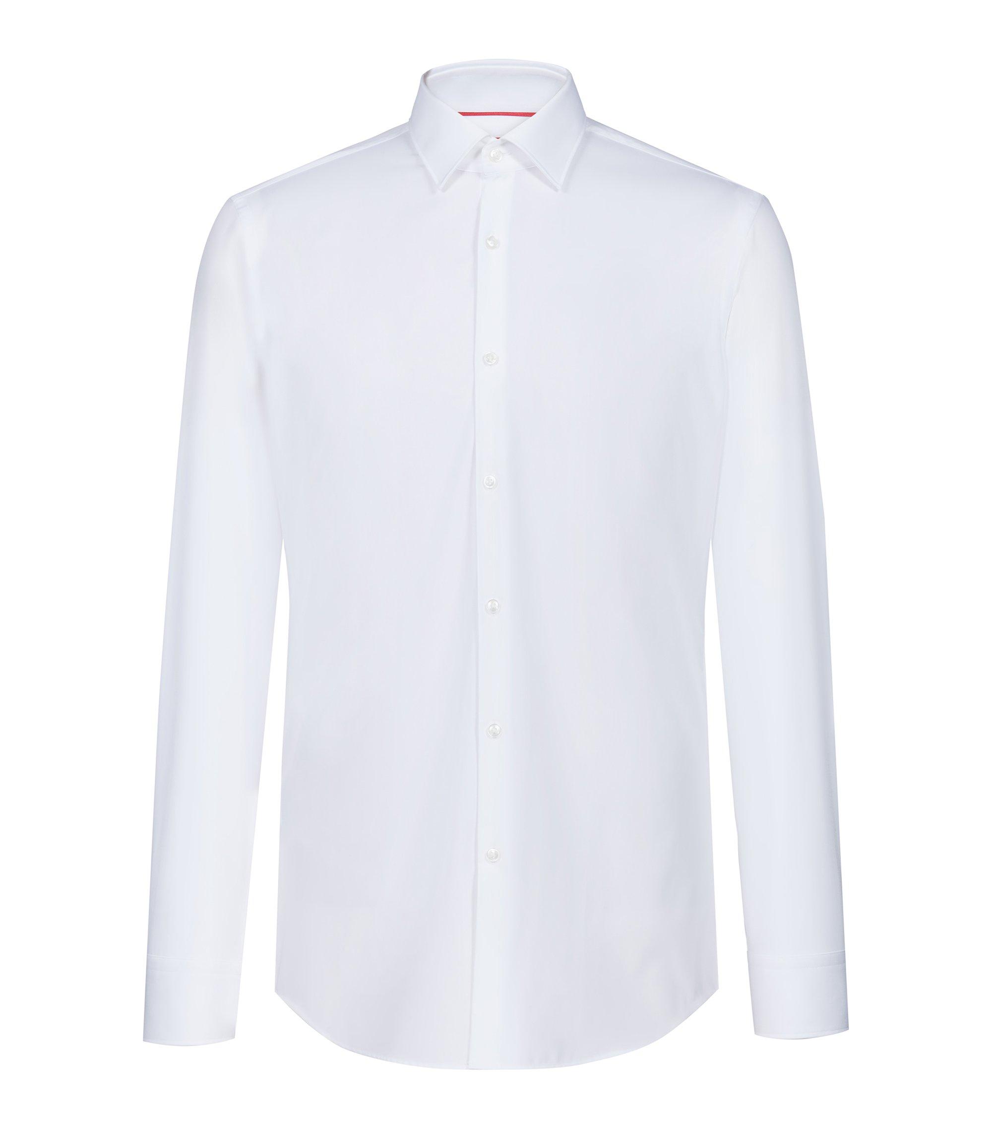 Slim-Fit Hemd aus Baumwoll-Popeline, Weiß
