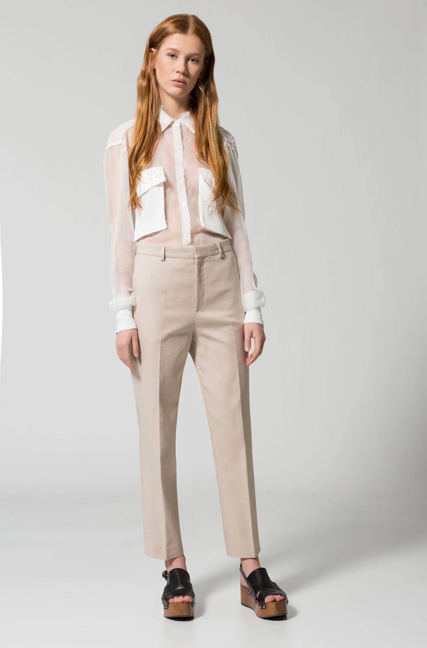 Relaxed-fit blouse met borstzakken, van gekreukte zijde
