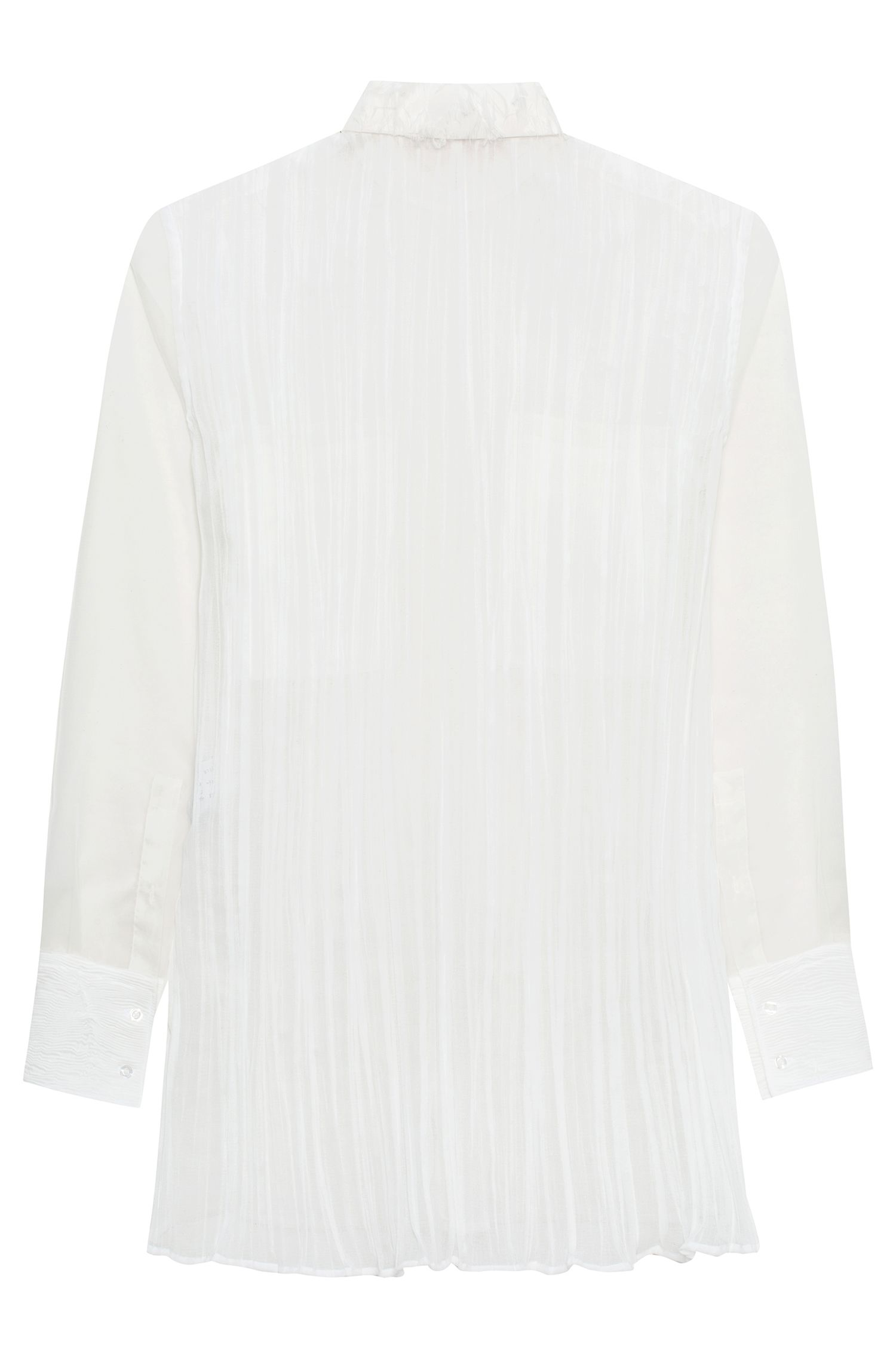 Relaxed-fit crinkle-silk blouse with chest pockets HUGO BOSS