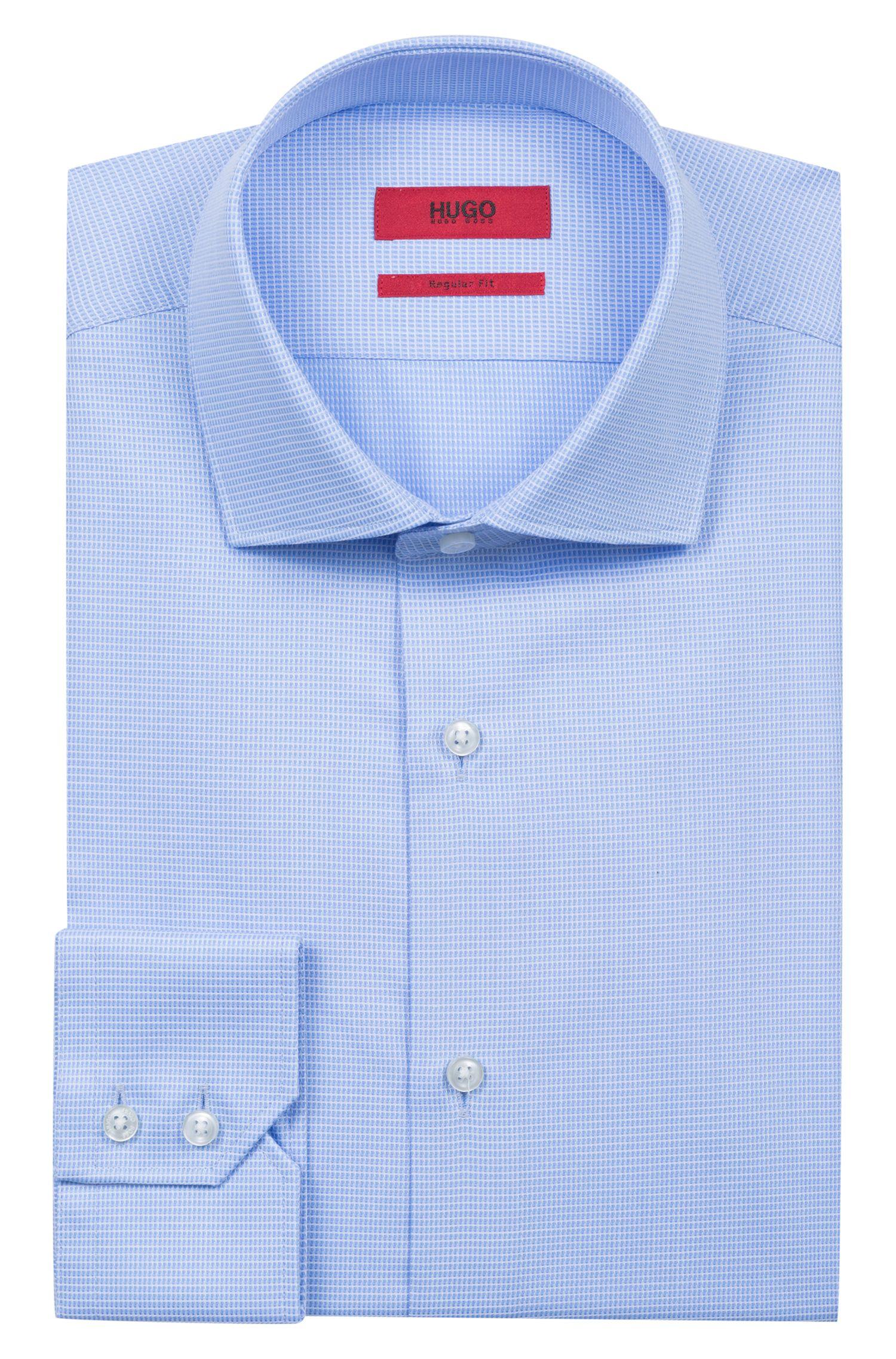 Camisa regular fit en algodón a cuadros, Celeste