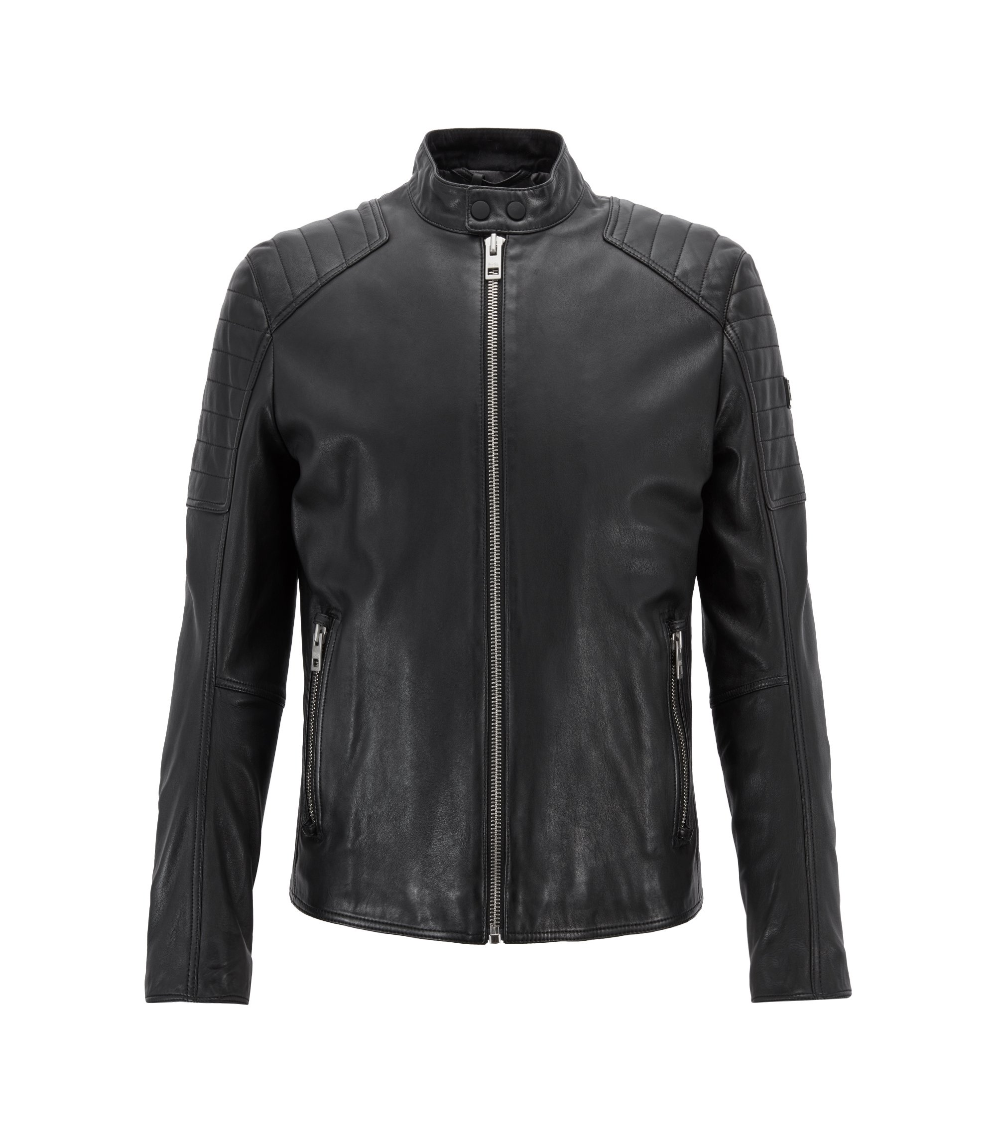 Slim-fit biker jacket in lightly waxed leather, Black