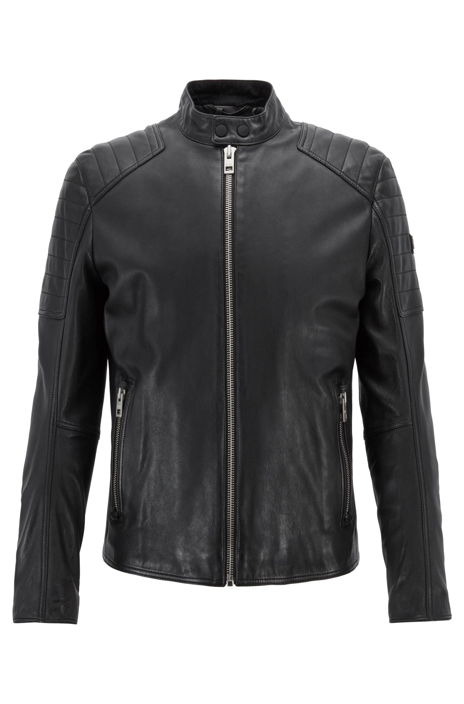 Slim-Fit Bikerjacke aus leicht gewachstem Leder, Schwarz
