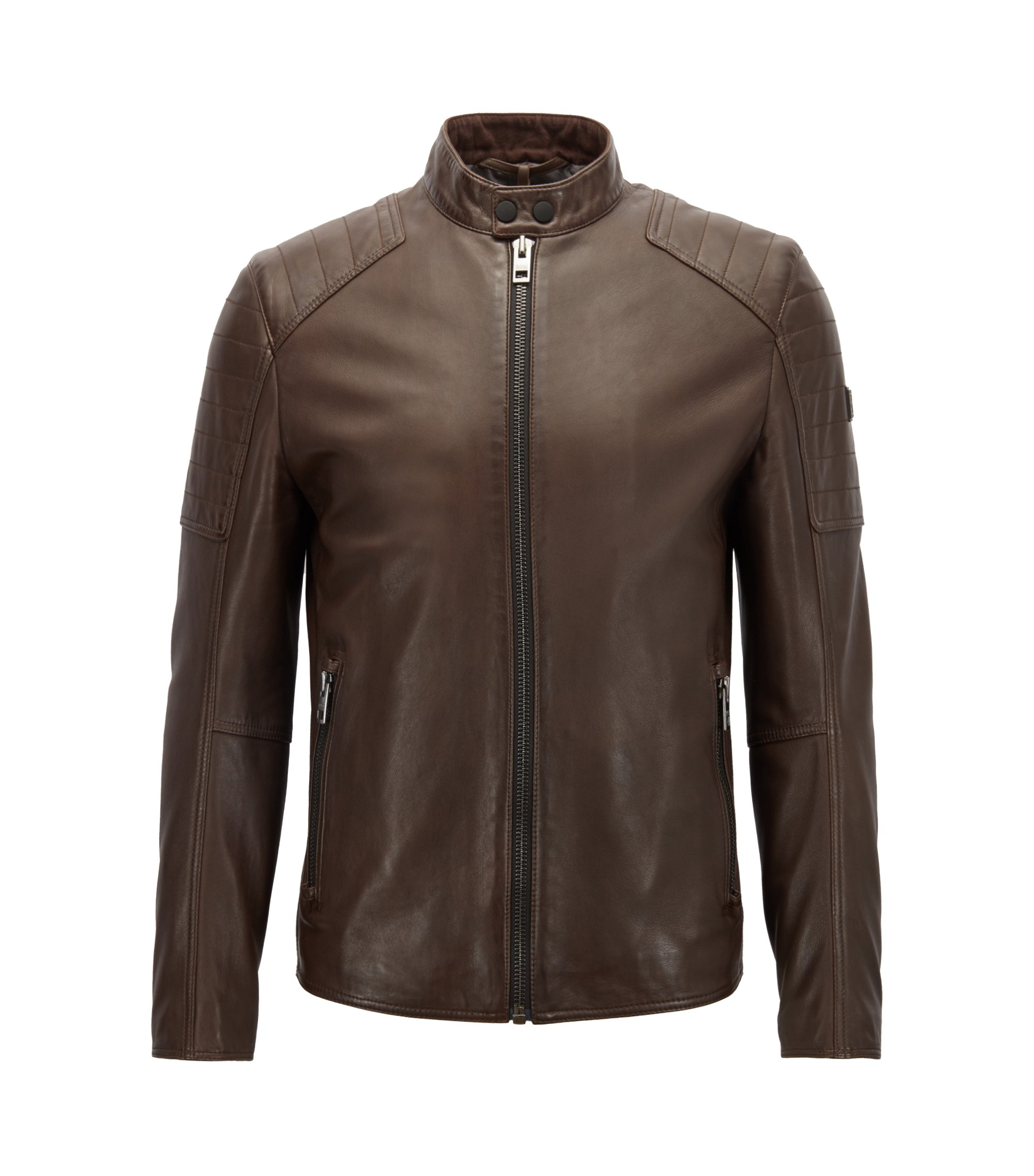 Slim-fit biker jacket in lightly waxed leather, Dark Brown