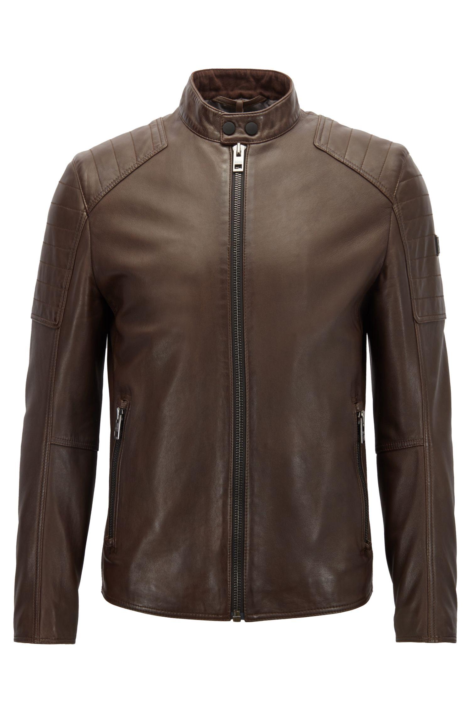Cazadora biker slim fit de piel ligeramente encerada, Marrón oscuro