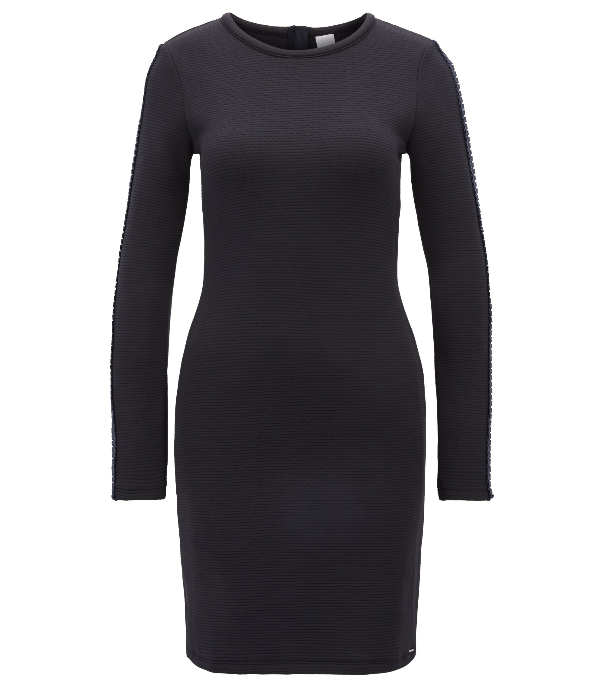 Ottoman jersey bodycon dress with pleated sleeve tape, Dark Blue