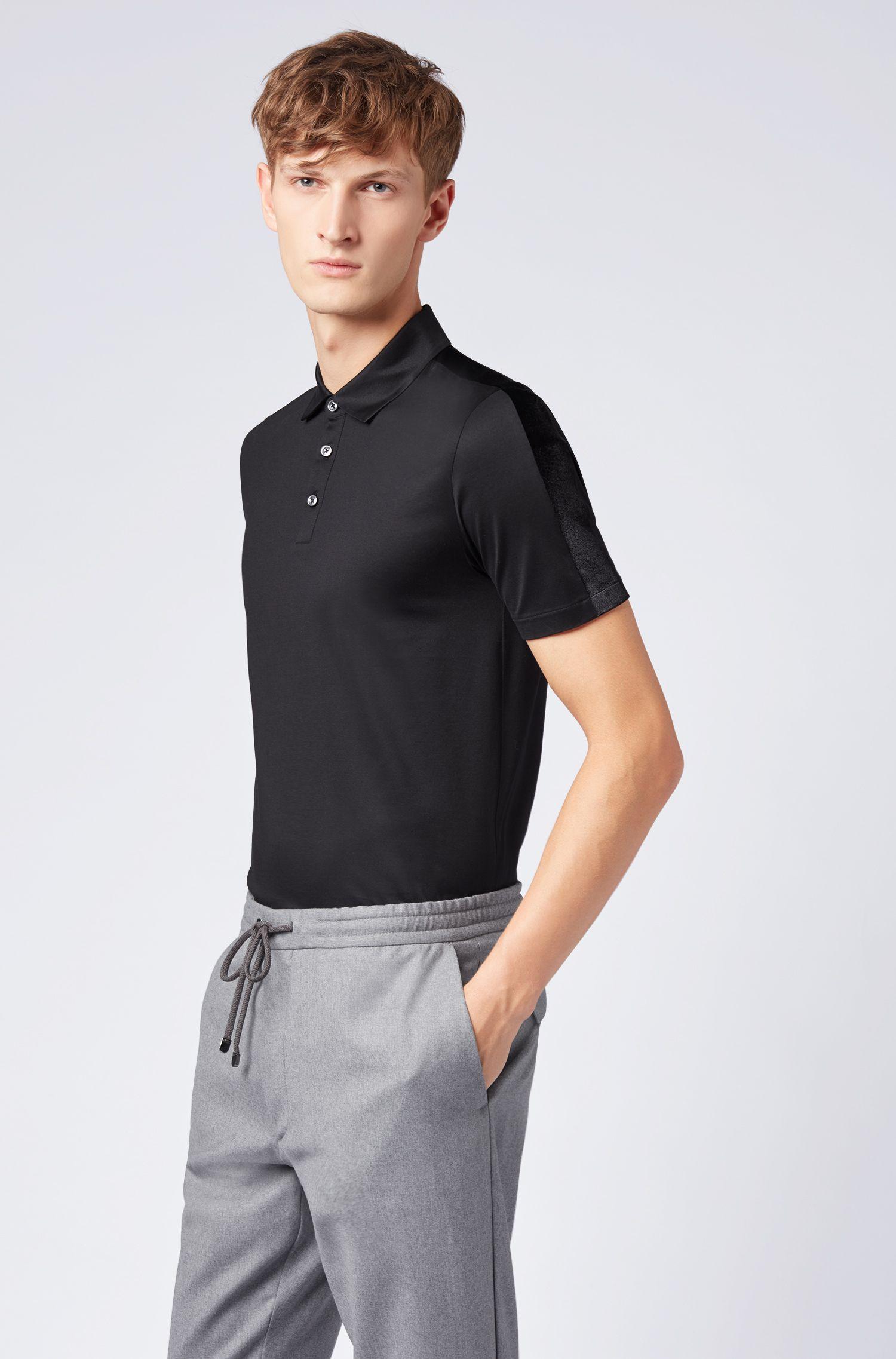 Polo slim fit con apliques de terciopelo italiano en las mangas, Negro