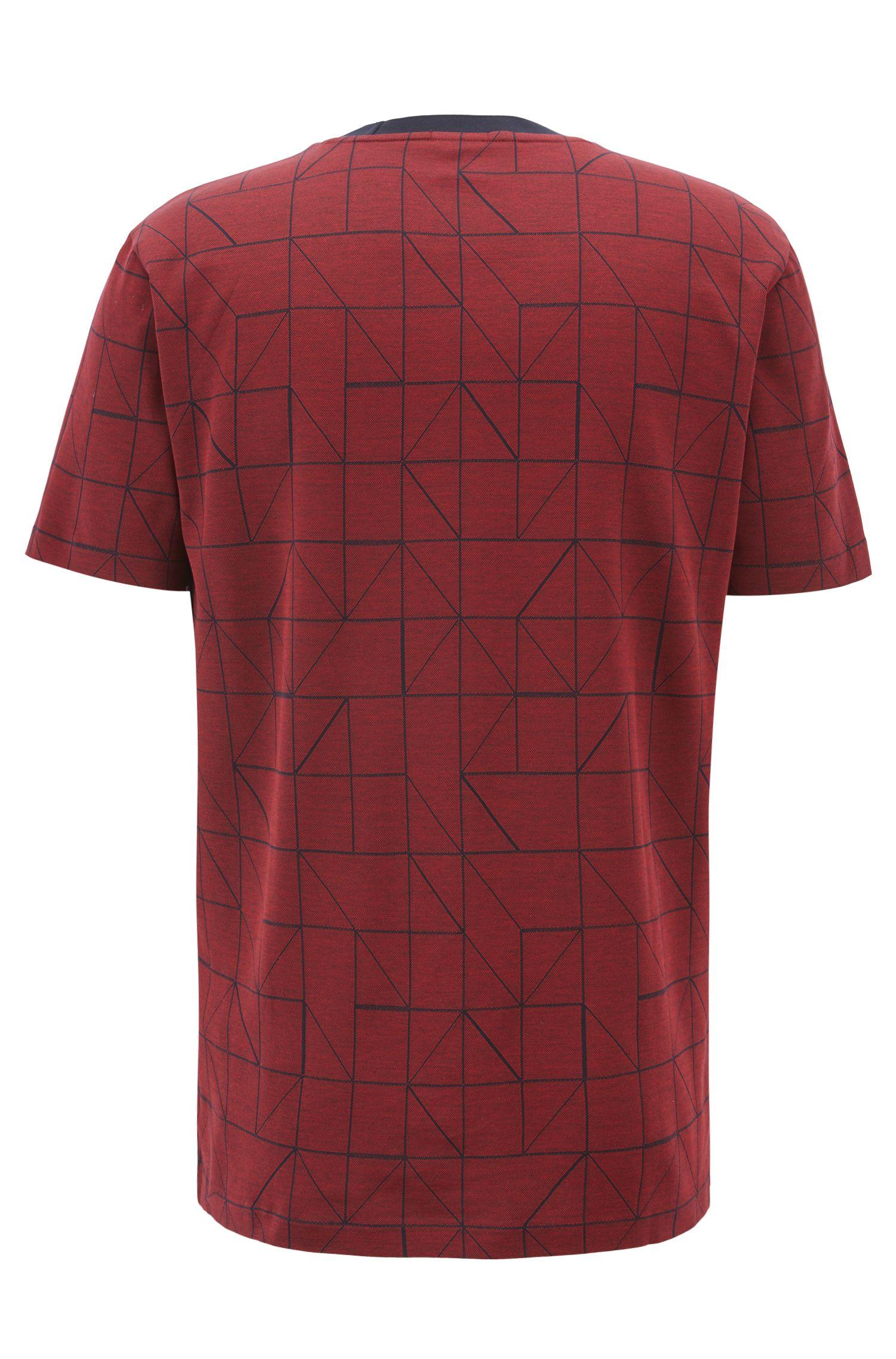 T-Shirt aus merzerisiertem Baumwoll-Jacquard mit Bauhaus-Muster, Dunkelrot