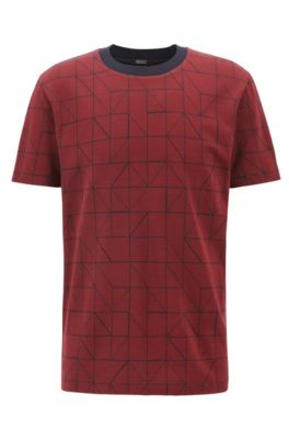 T-shirt à motif inspiré du Bauhaus, en jacquard de coton mercerisé, Rouge sombre
