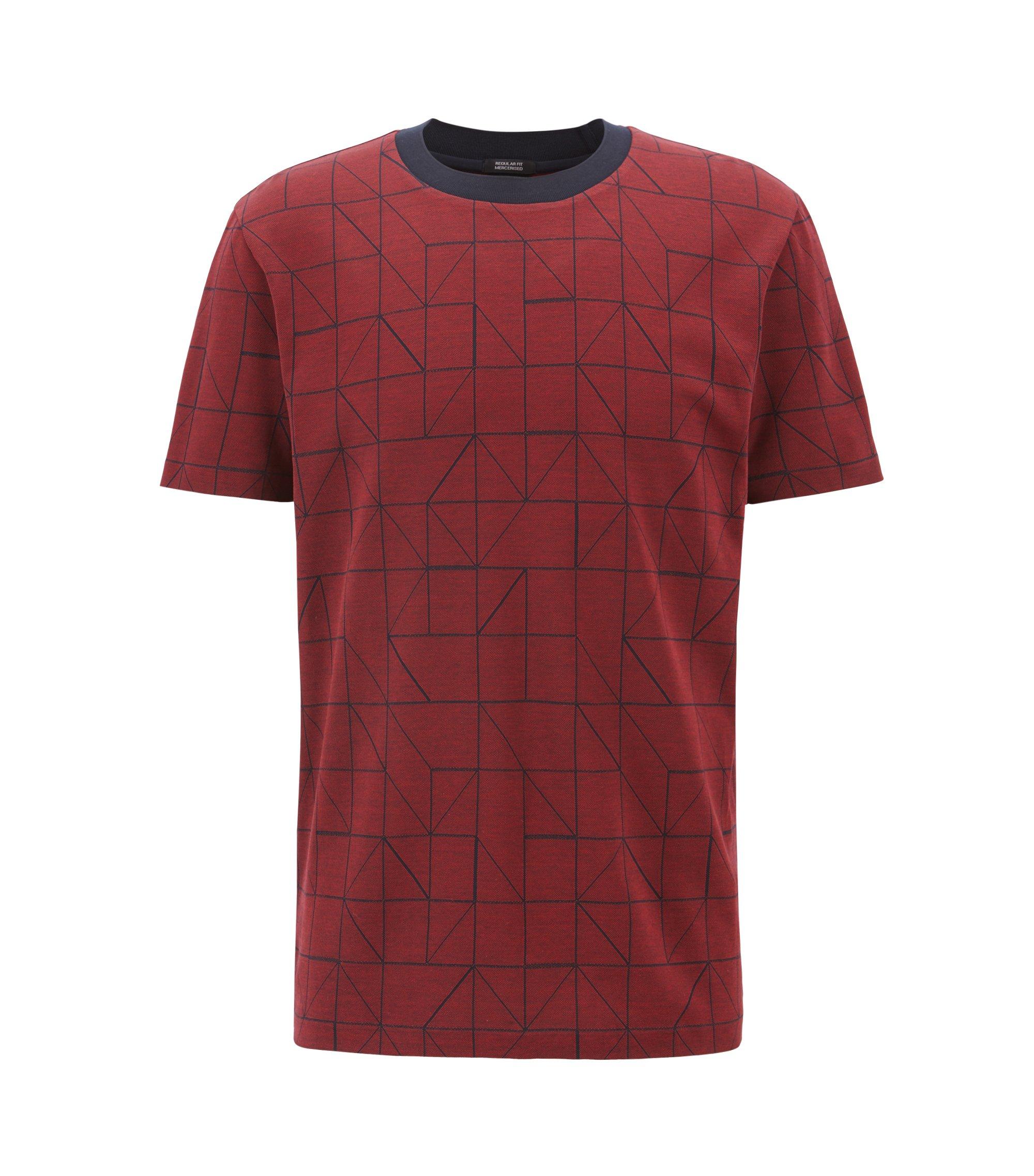 T-shirt van gemerceriseerde katoenen jacquard met een Bauhaus-geïnspireerde print , Donkerrood