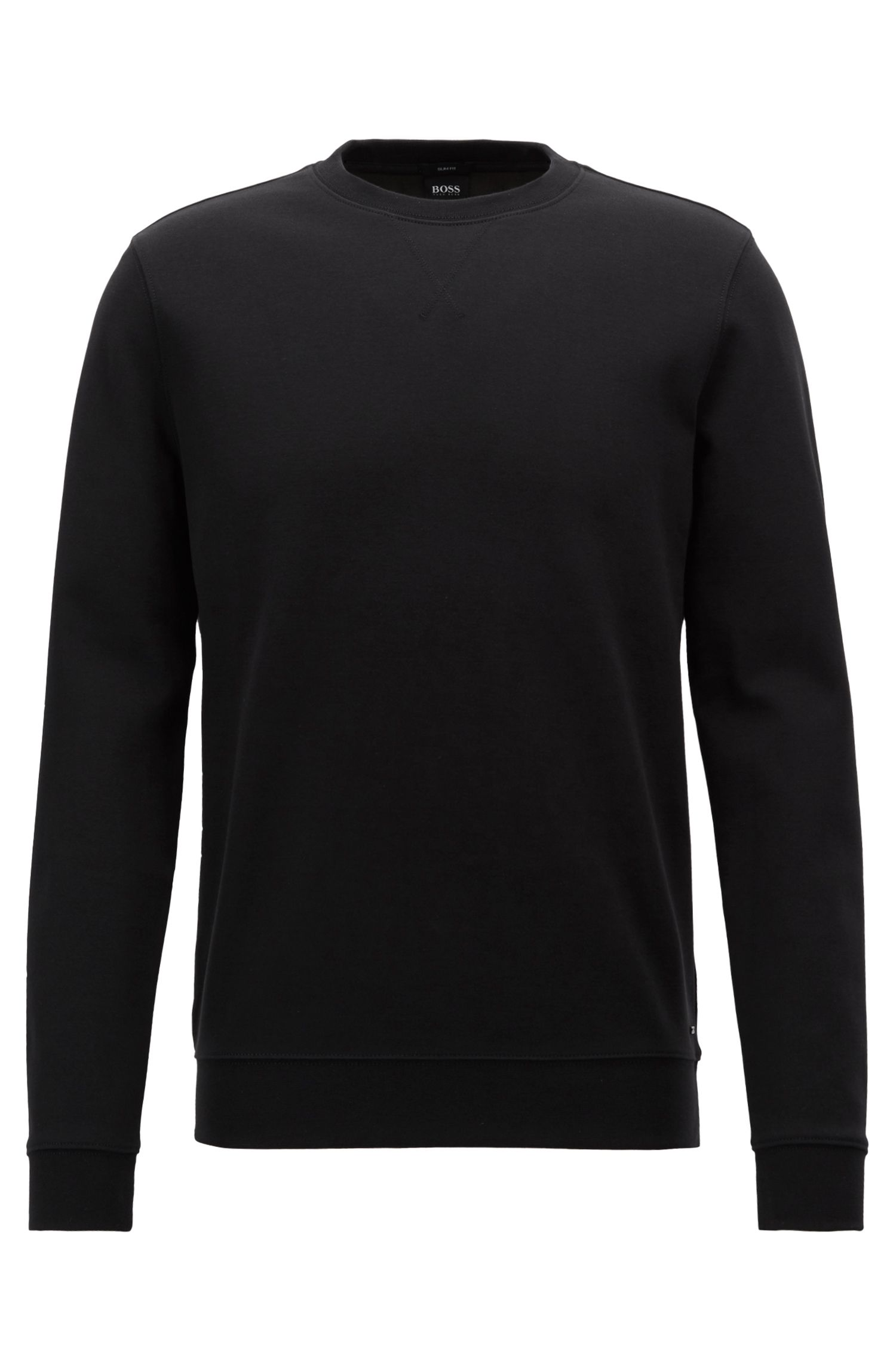 Slim-fit sweatshirt in a double-faced cotton blend, Black