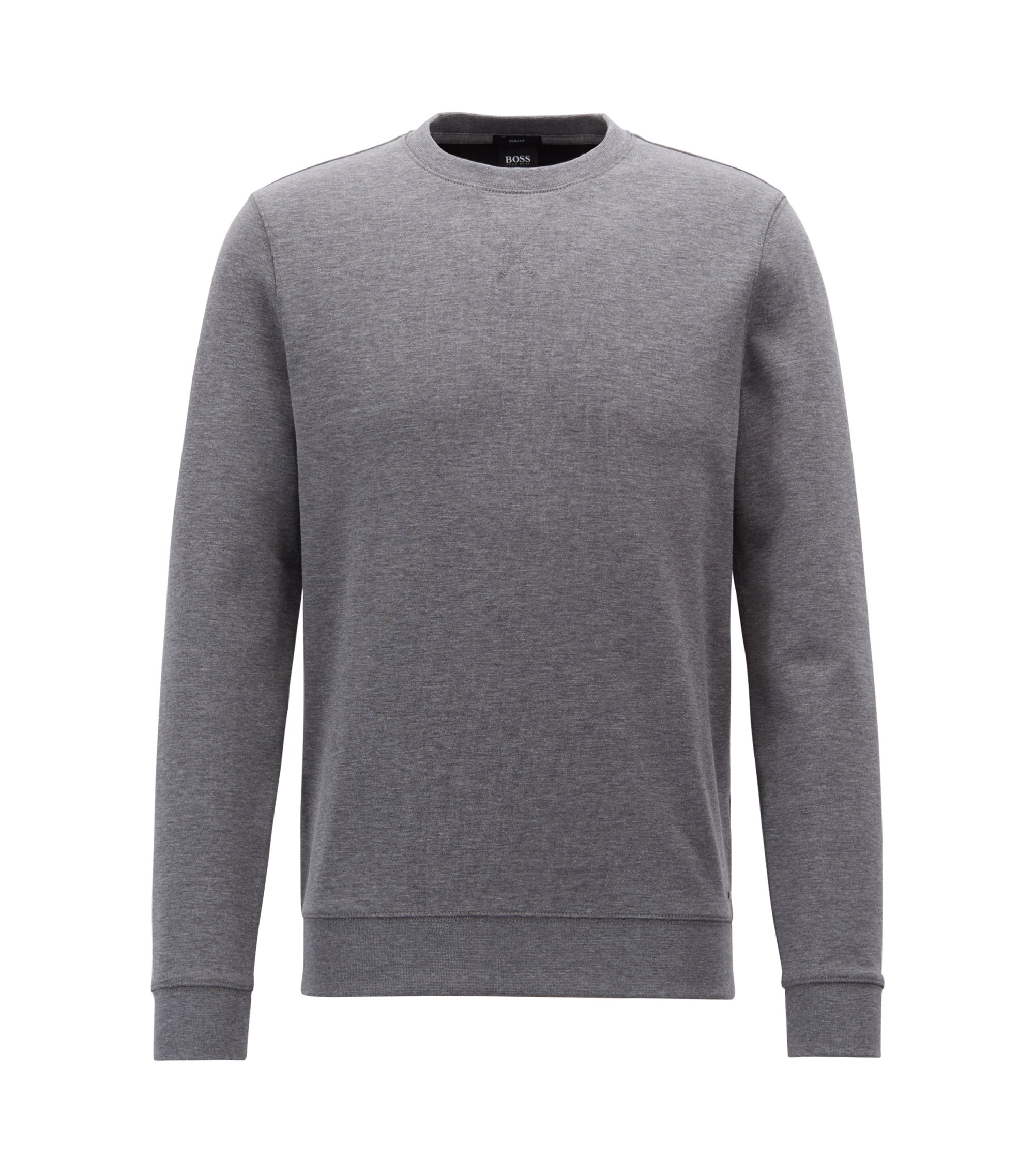 Slim-fit sweatshirt in a double-faced cotton blend, Grey