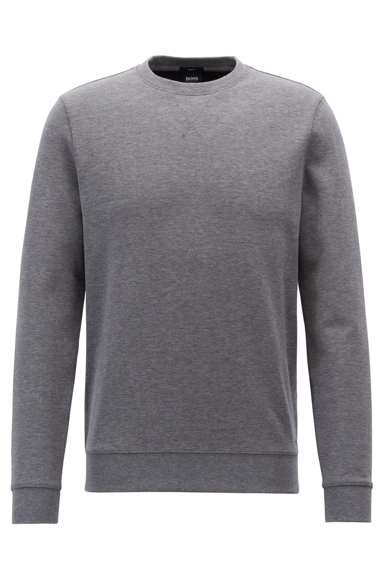 Sweat Slim Fit en coton mélangé double face, Gris