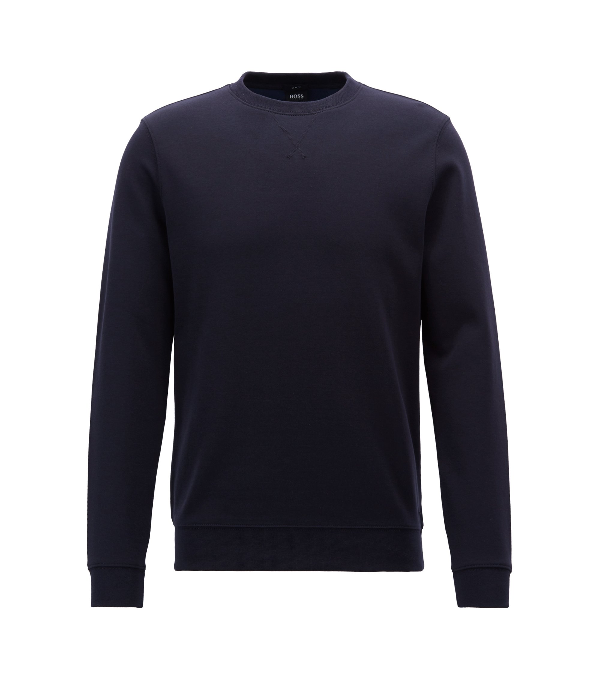 Slim-fit sweatshirt in a double-faced cotton blend, Blue