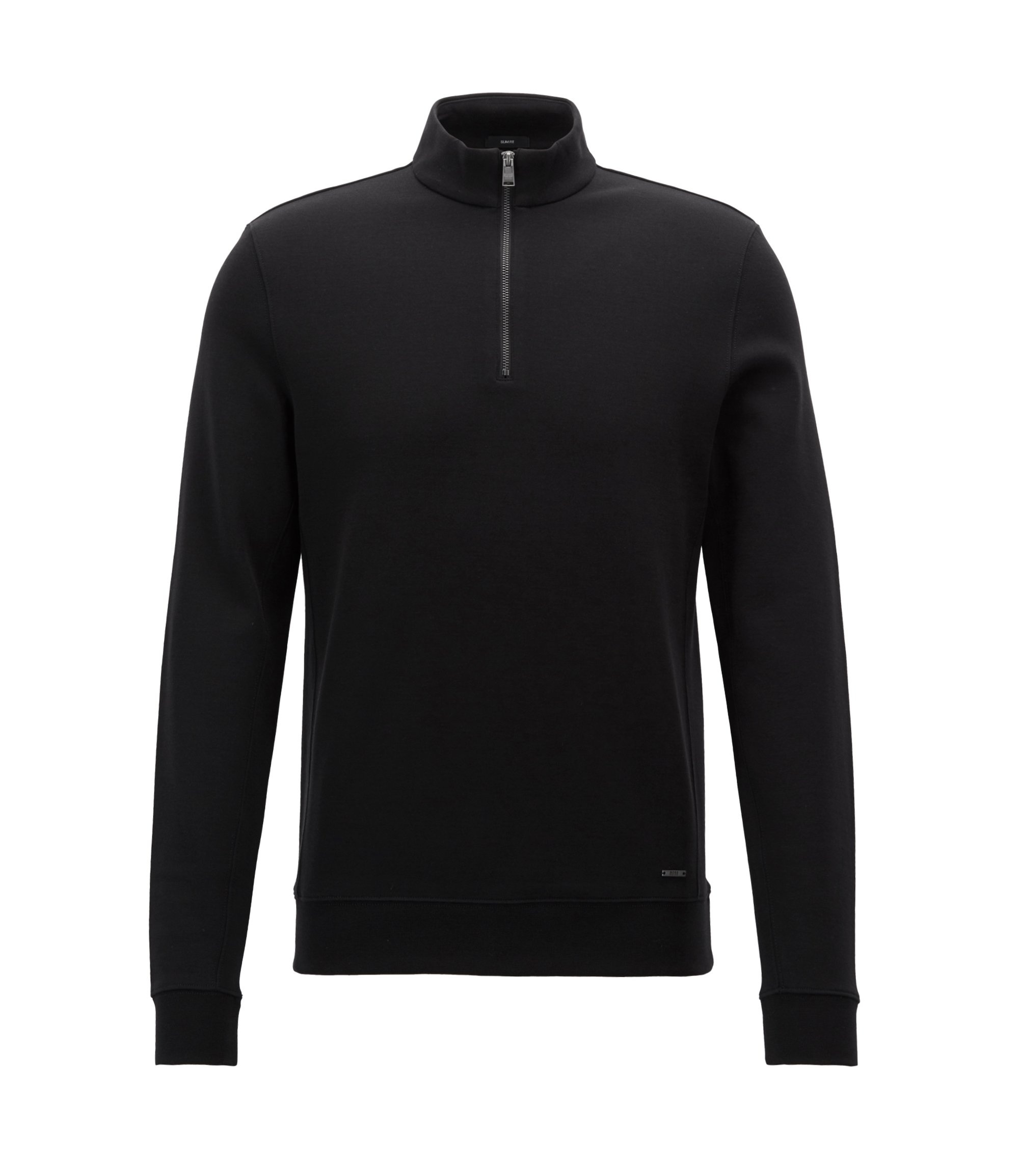 Slim-fit zip-neck sweatshirt in a cotton blend, Black