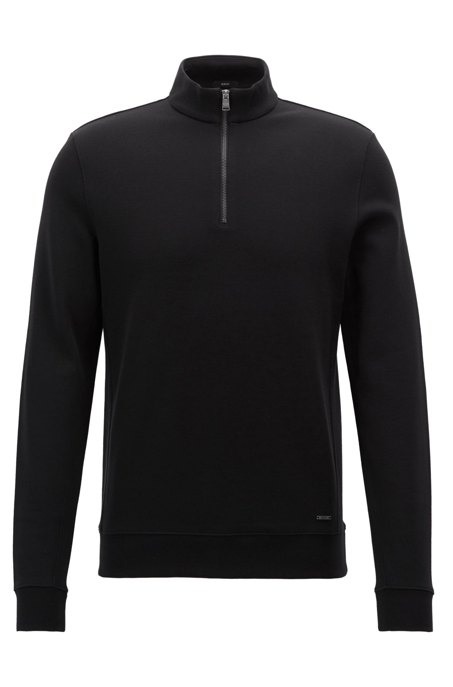 Sweat Slim Fit à col zippé en coton mélangé, Noir