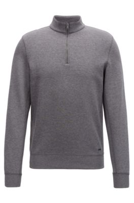 Sweat Slim Fit à col zippé en coton mélangé, Gris