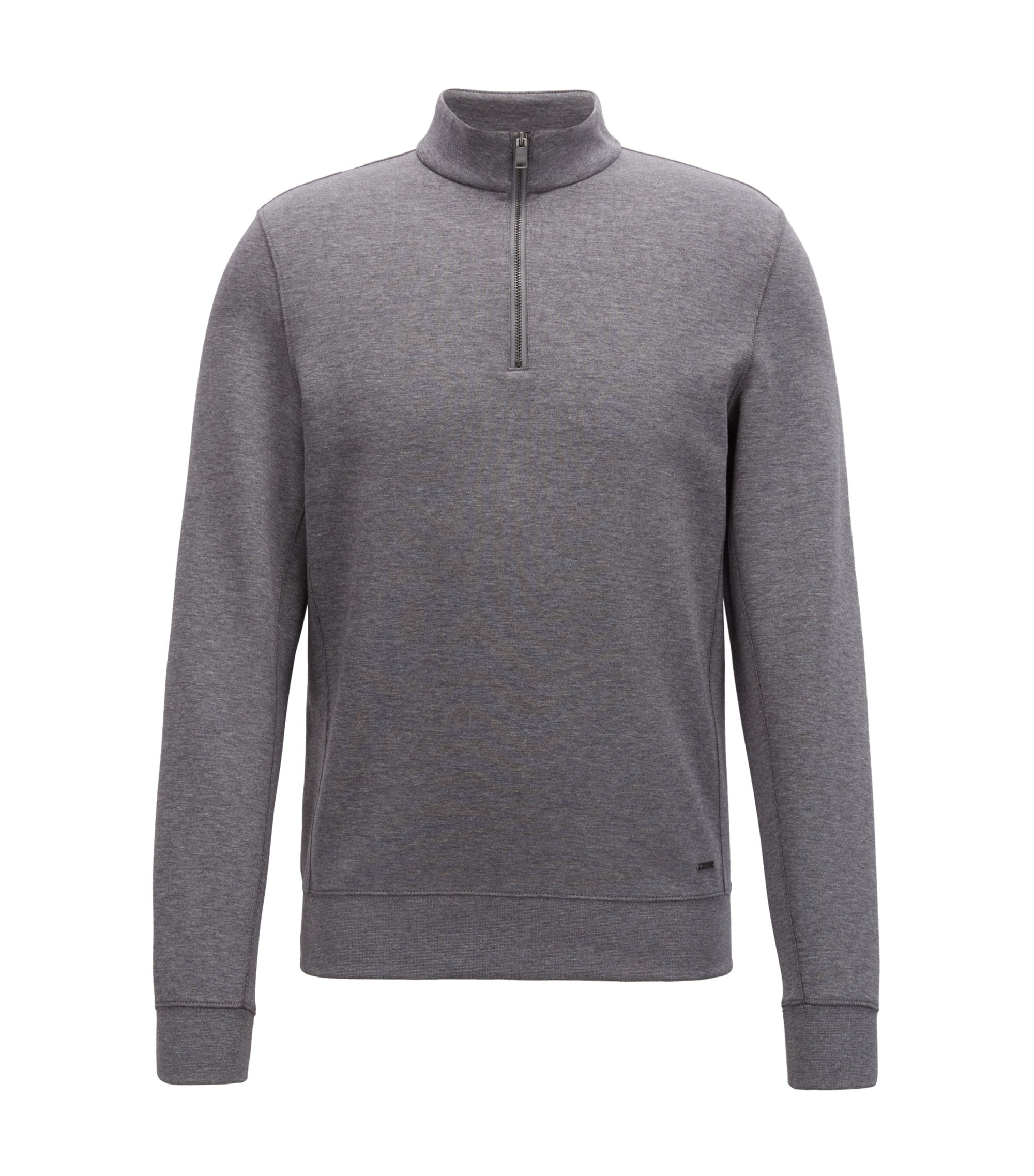 Slim-fit zip-neck sweatshirt in a cotton blend, Grey