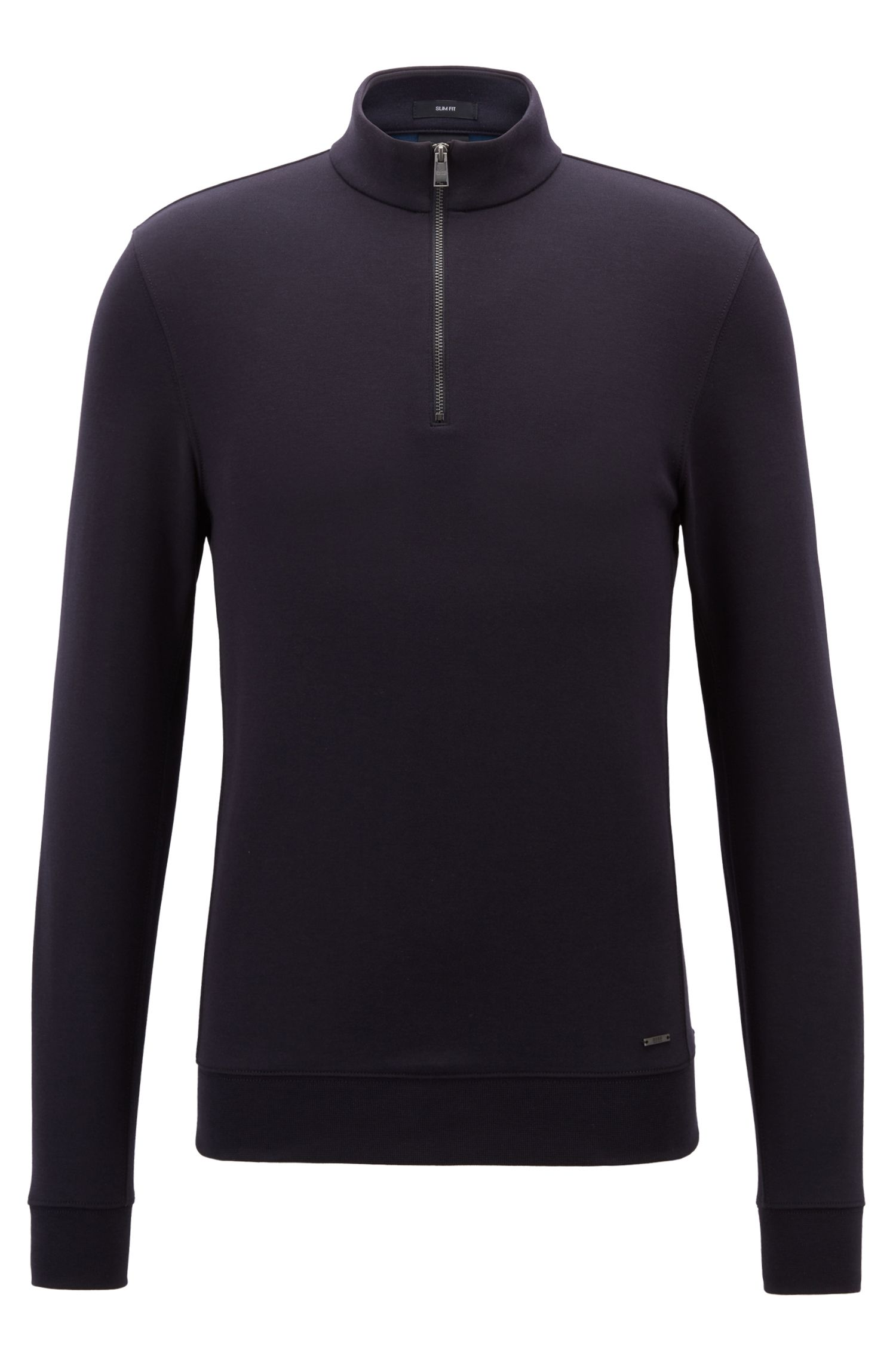 Slim-fit zip-neck sweatshirt in a cotton blend, Blue