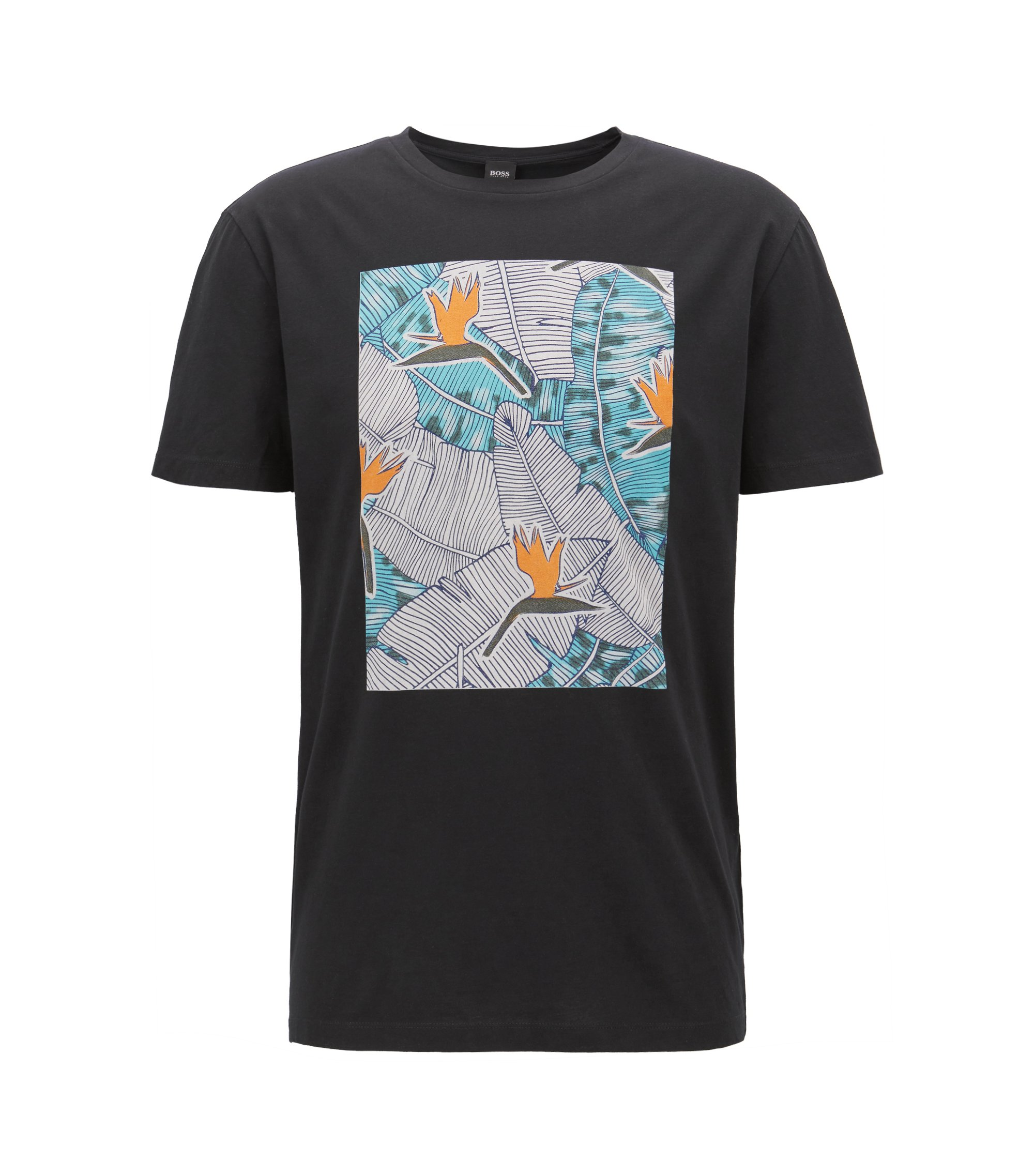 Graphic-print T-shirt in washed cotton jersey, Black