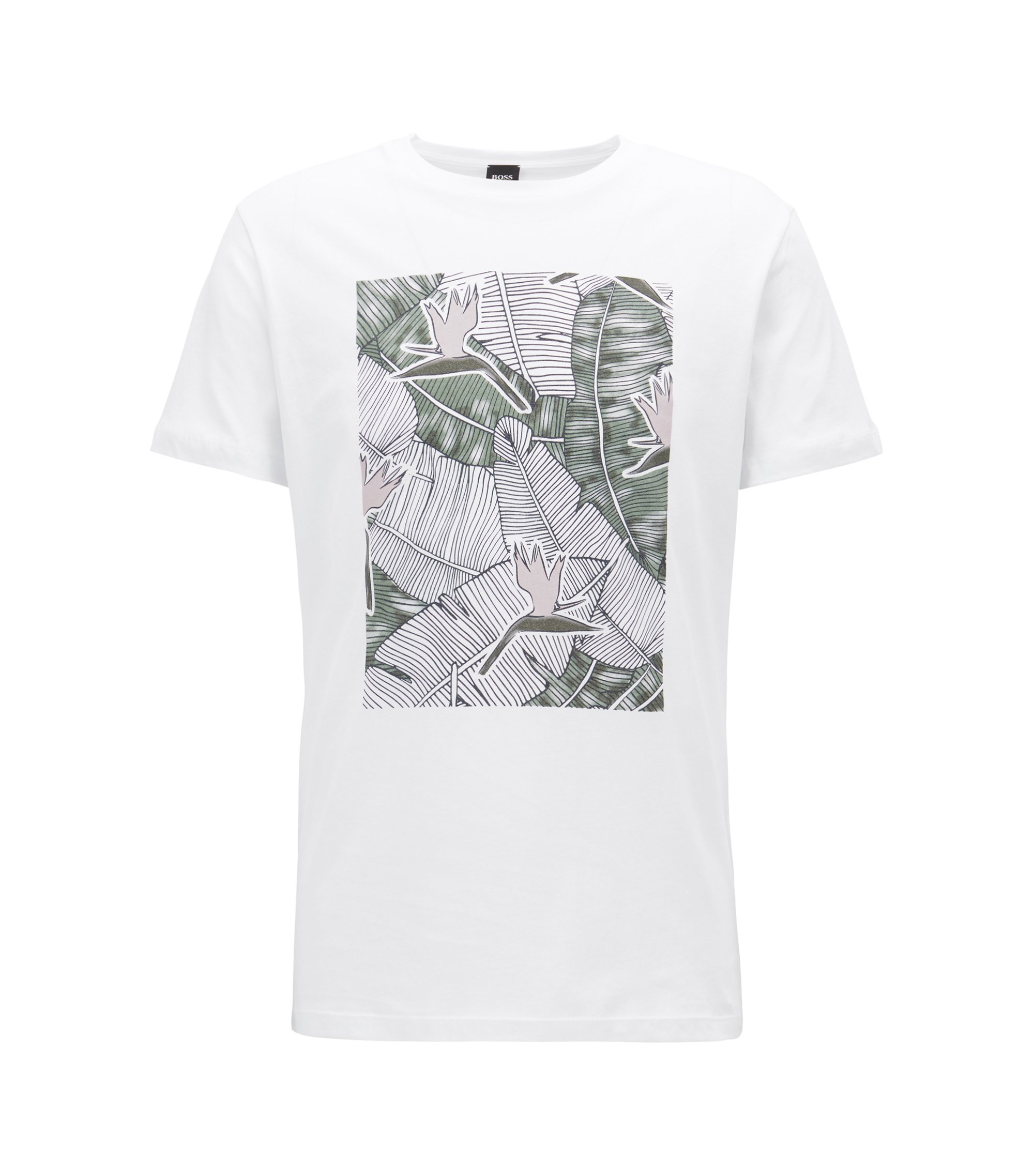 Graphic-print T-shirt in washed cotton jersey, White