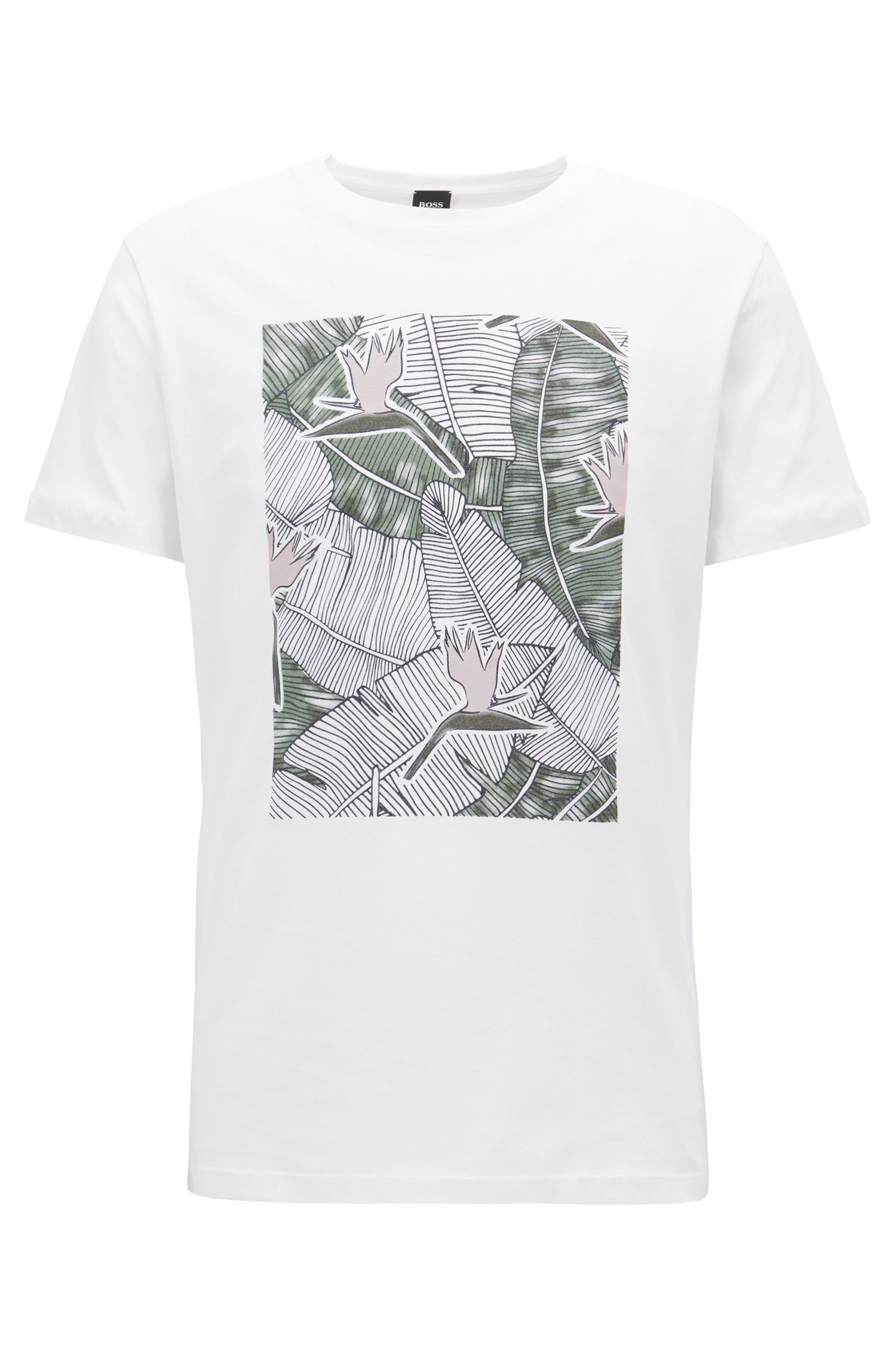 Graphic-print T-shirt in washed cotton jersey