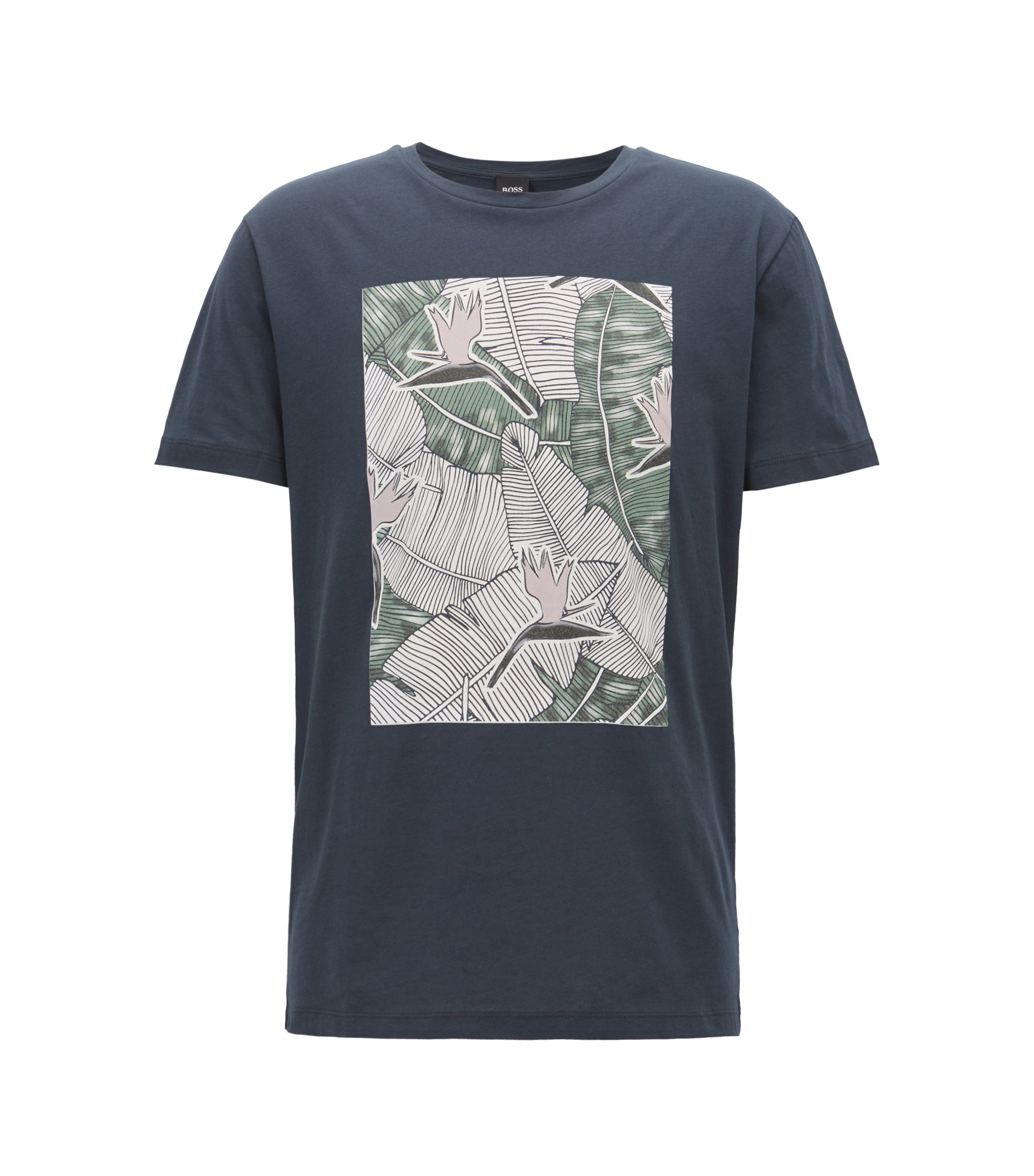 Graphic-print T-shirt in washed cotton jersey, Dark Blue