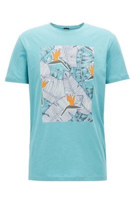 Graphic-print T-shirt in washed cotton jersey, Turquoise