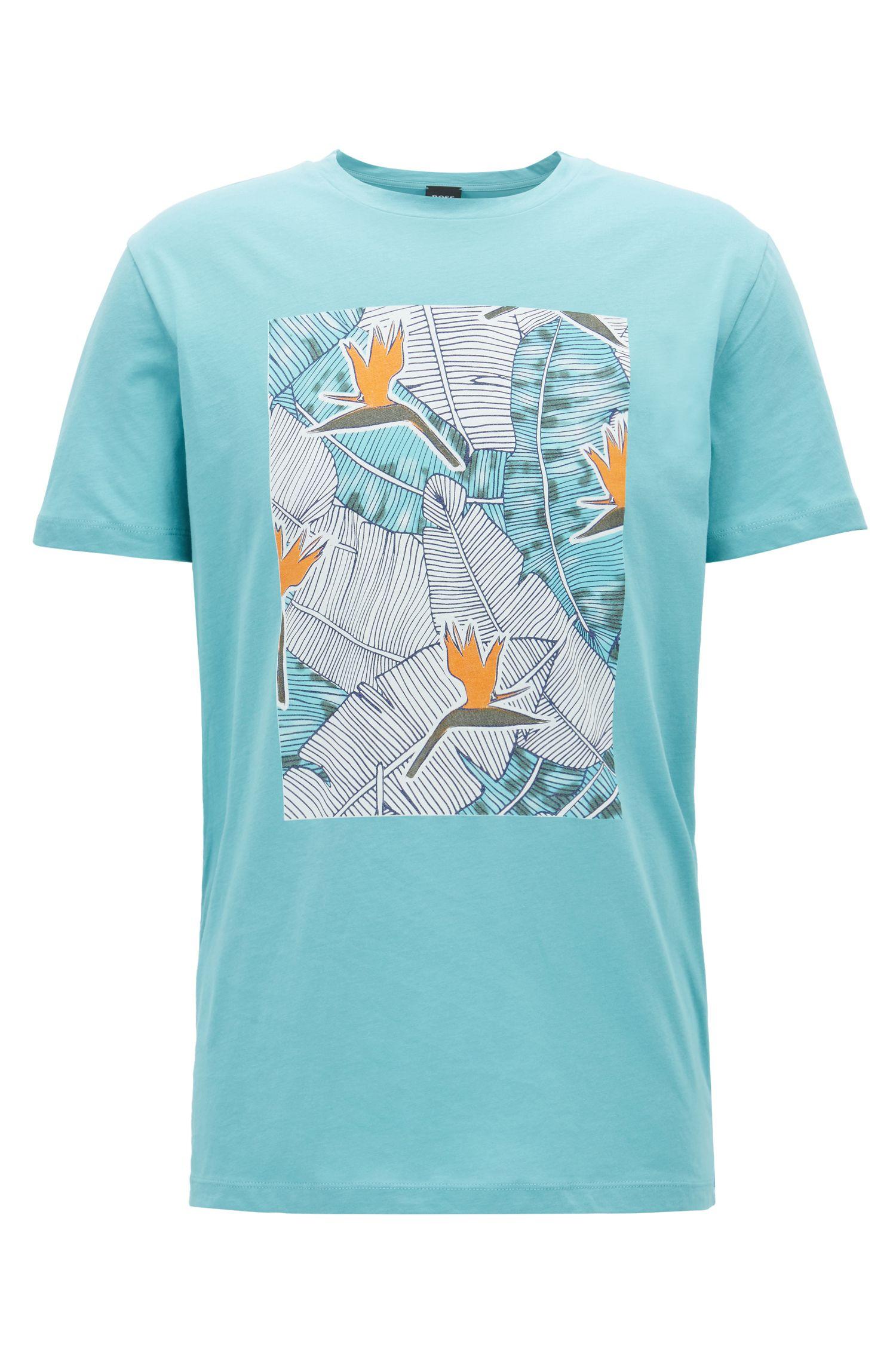 T-shirt van gewassen katoenen jersey met grafische print