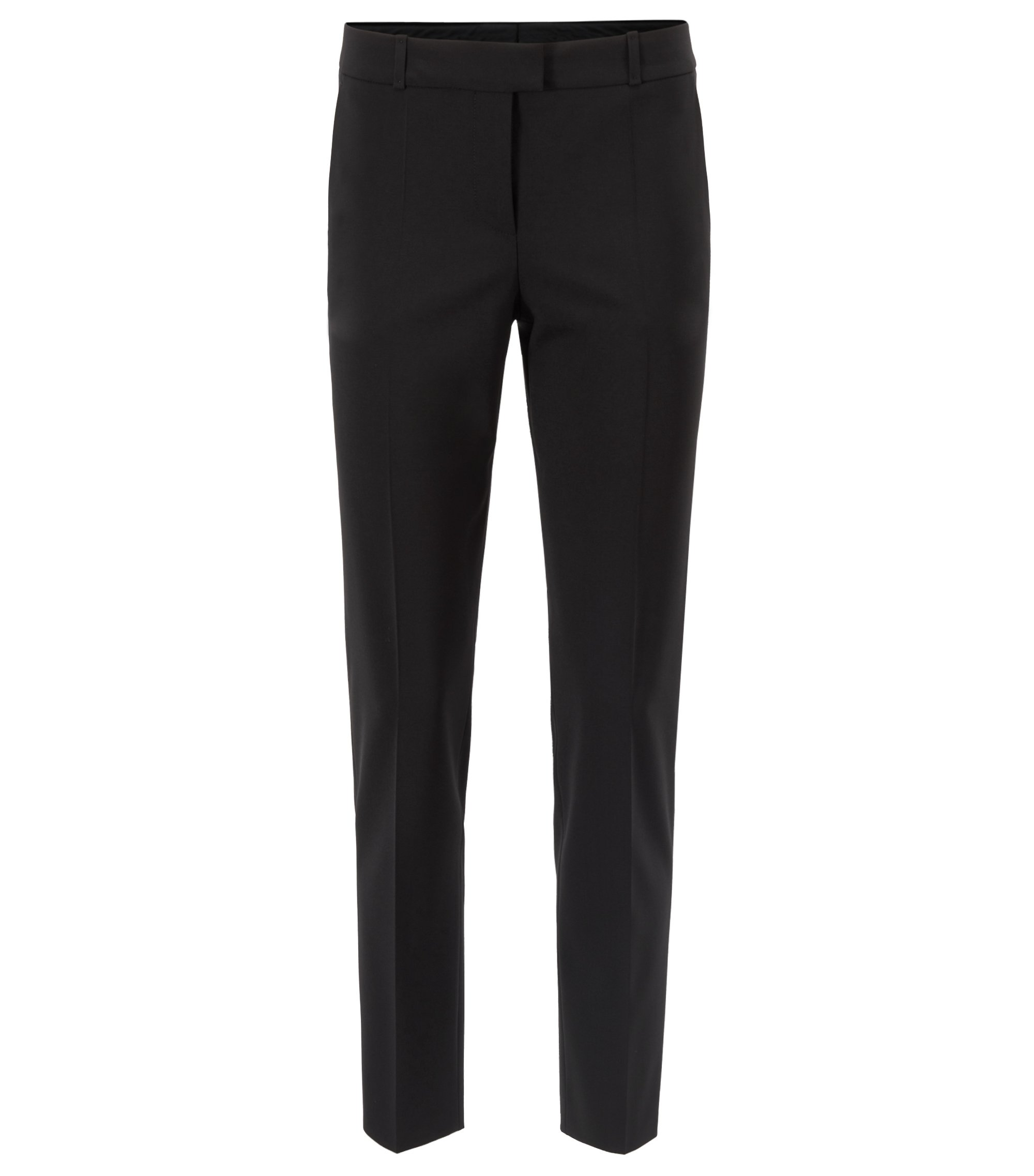 Cropped relaxed-fit trousers in Italian stretch wool, Zwart