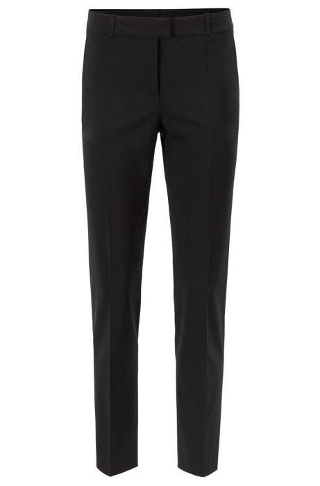Pantalon court Relaxed Fit en laine italienne stretch, Noir
