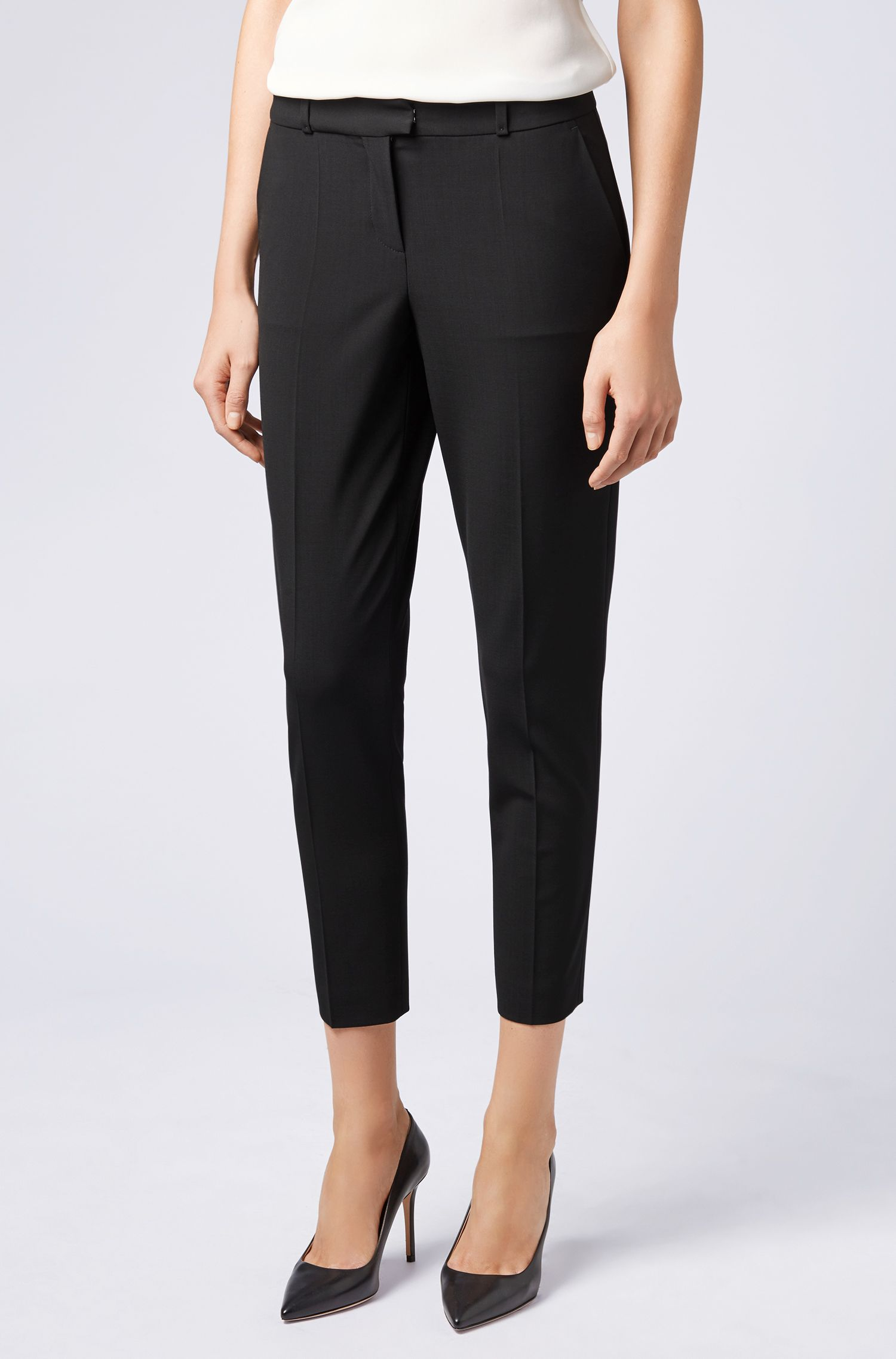 Cropped relaxed-fit trousers in Italian stretch wool, Black